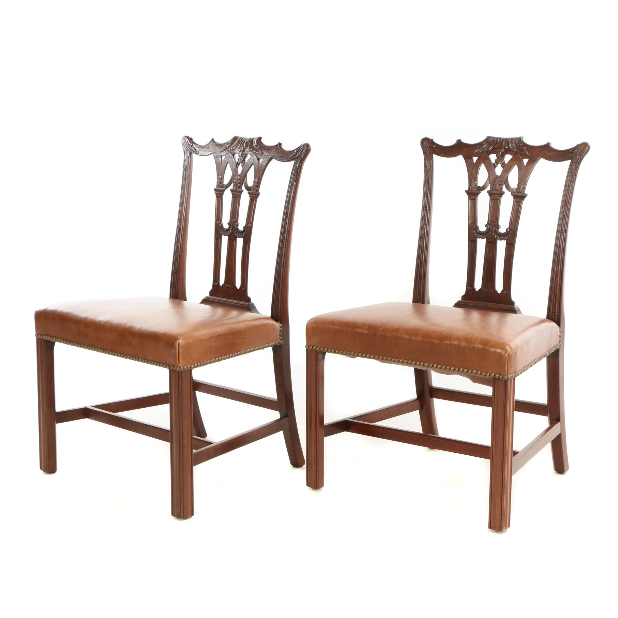 Pair of George III Style Carved Mahogany and Leather Side Chairs, 20th Century