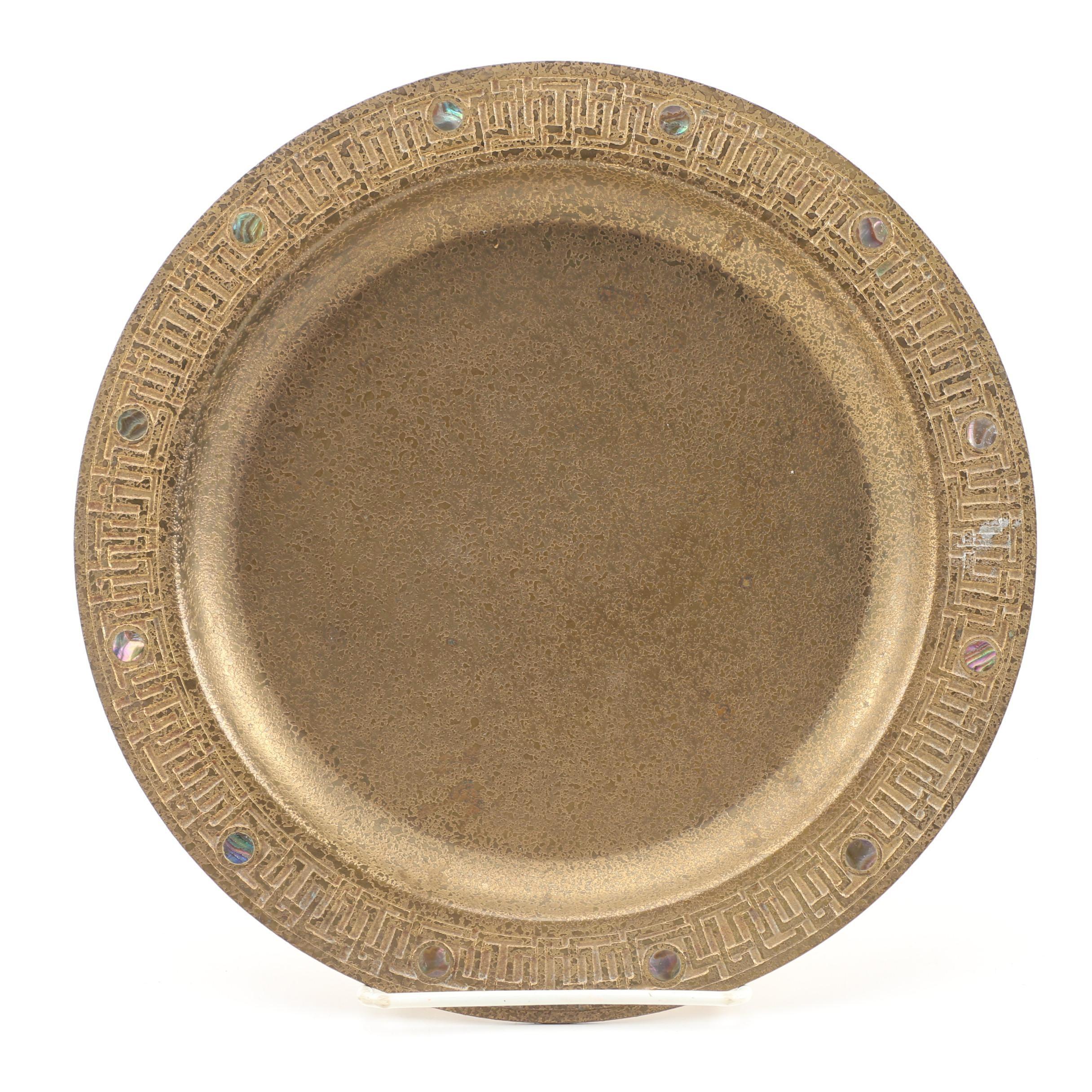 Tiffany Studios Bronze Doré Plate with Abalone Inlay, Circa 1910