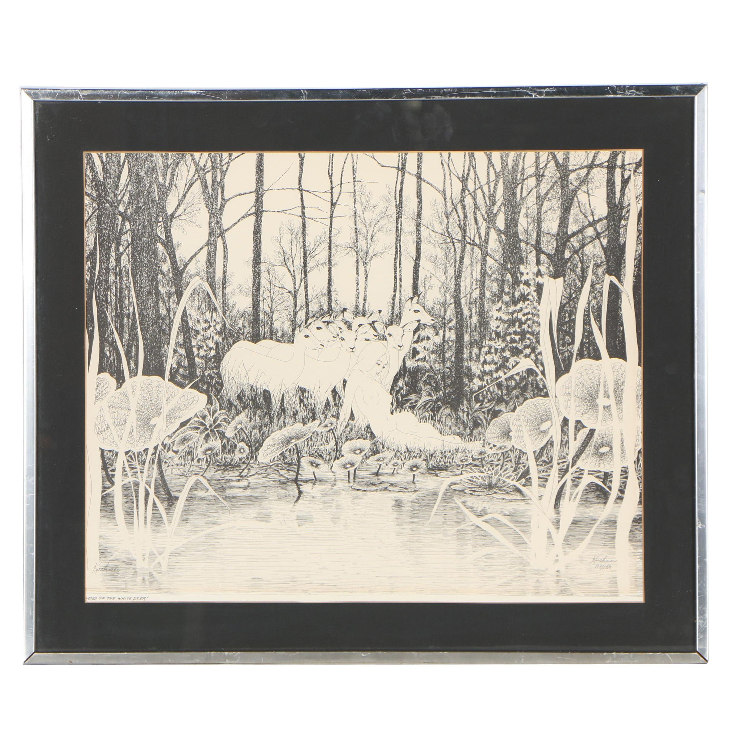 "Steve Kushner Lithograph ""Legend of the White Deer"", 1971"