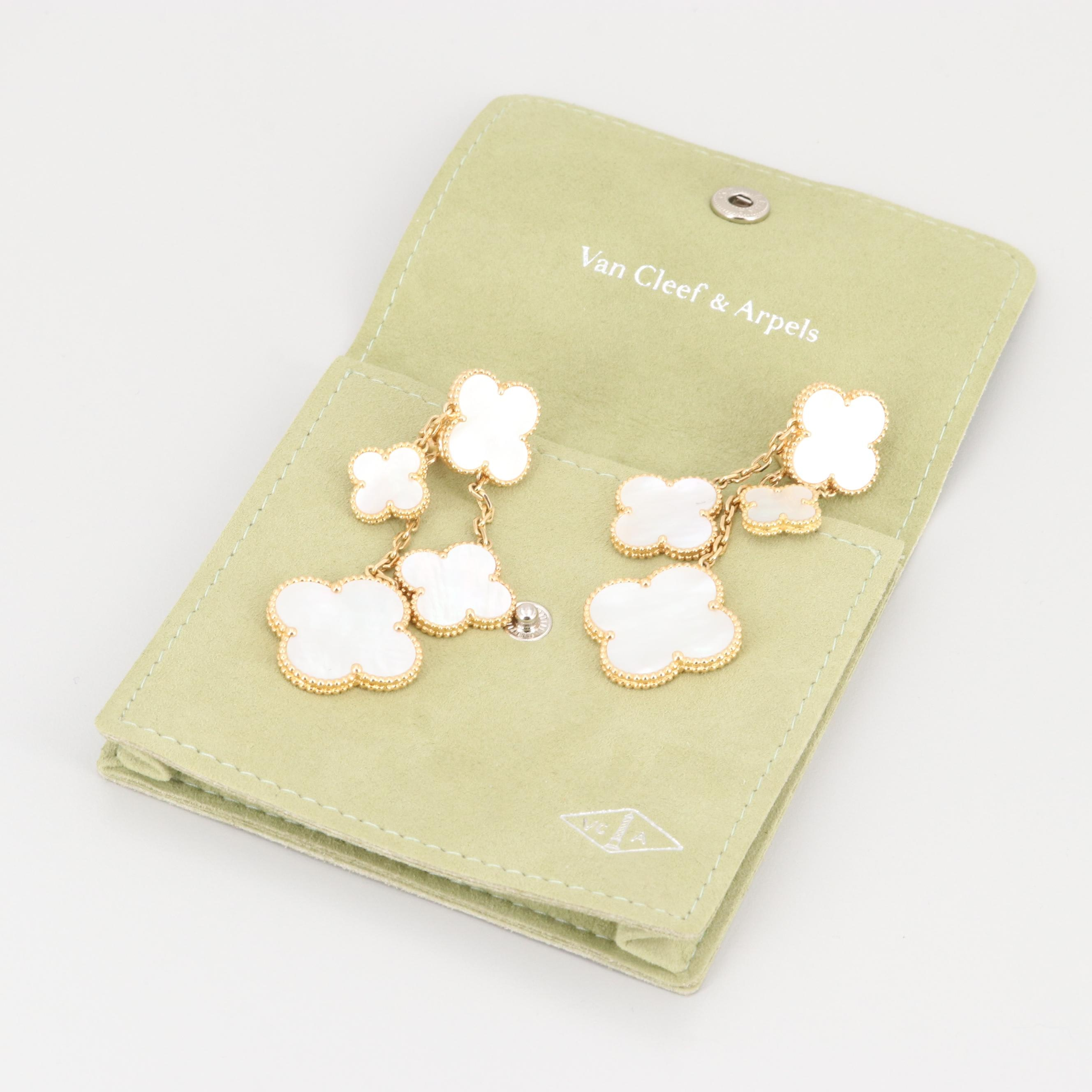 "Van Cleef and Arpels ""Magic Alhambra"" 18K Yellow Gold Mother Of Pearl Earrings"
