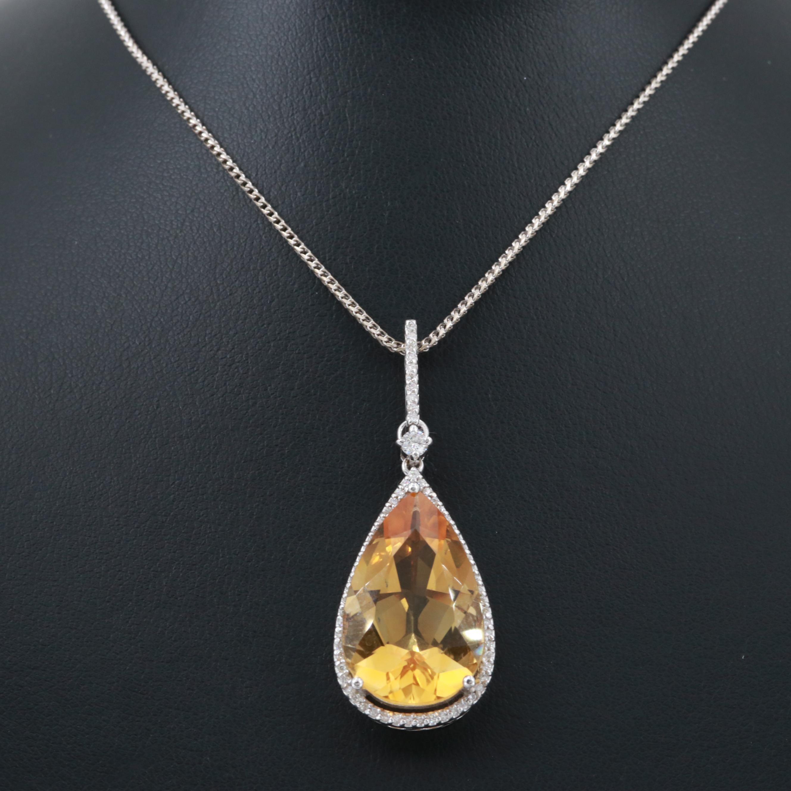 18K White Gold 11.82 CT Citrine and Diamond Pendant Necklace