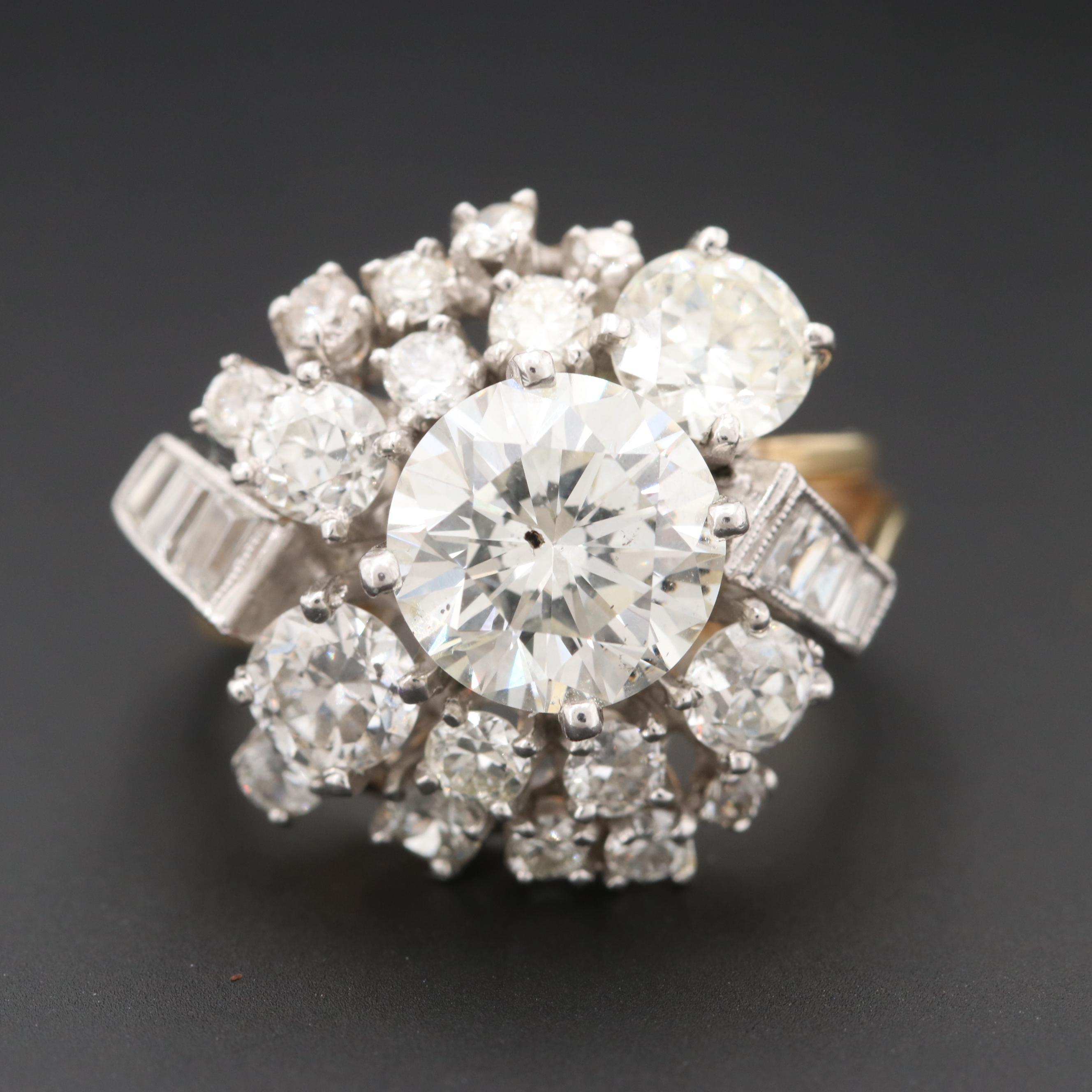 14K Yellow Gold and Palladium 3.99 CTW Diamond Ring