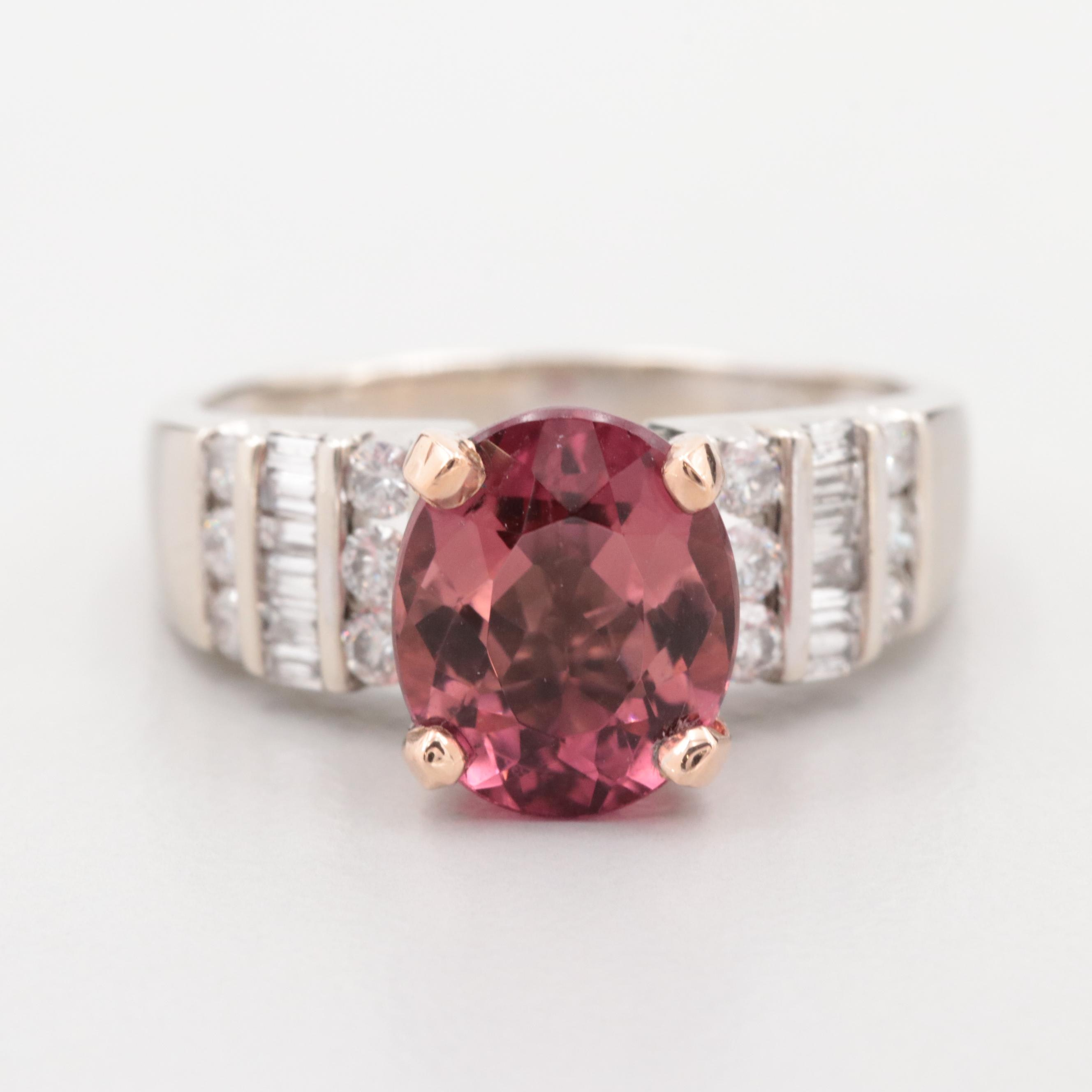 14K White Gold Tourmaline and Diamond Ring with 14K Rose Gold Accent