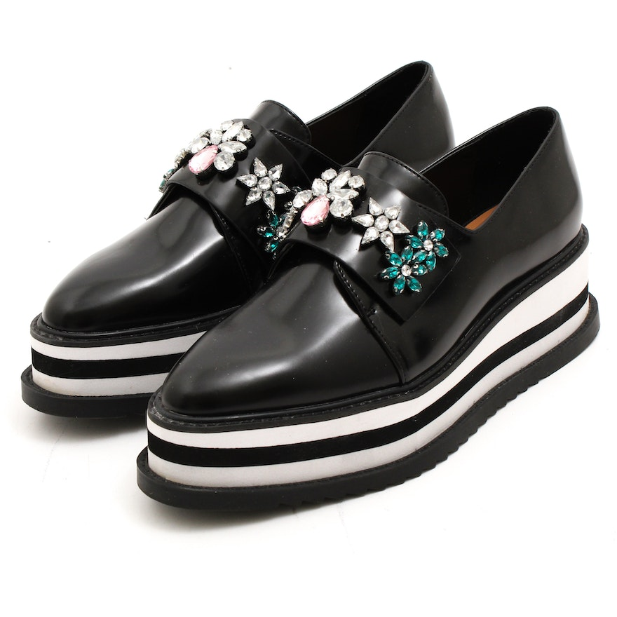 4d979fdcbf Zara Trafaluc Bejeweled Black and White Platform Shoes : EBTH