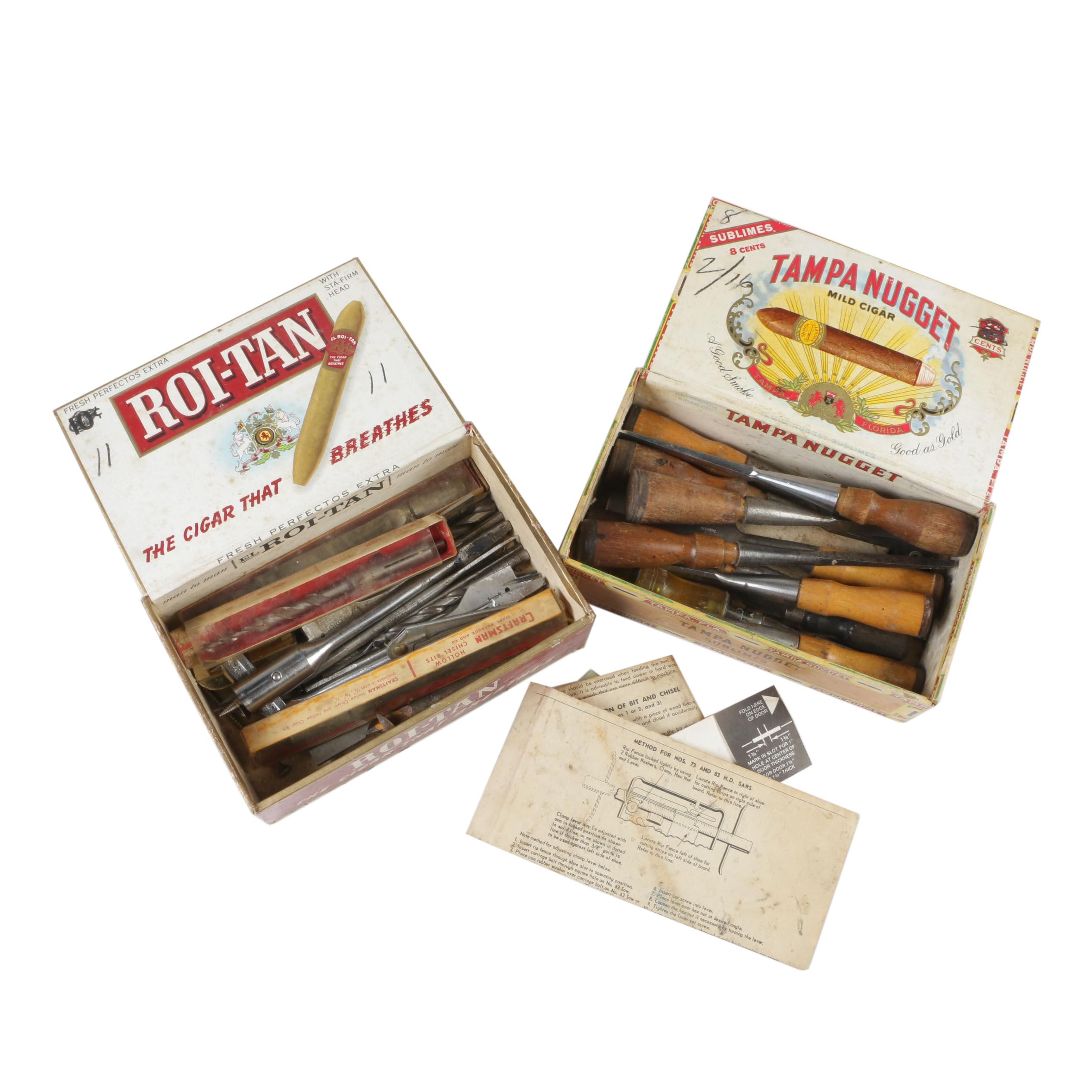 Handheld Woodworking Chisels with Mortising Drill and Chisel Bits, Vintage