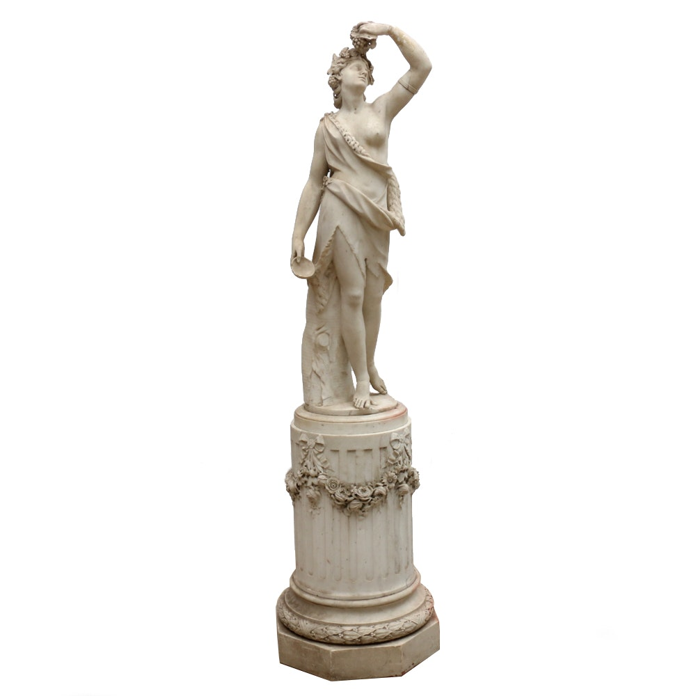 19th Century Marble Sculpture of Classical Figure on Pedestal