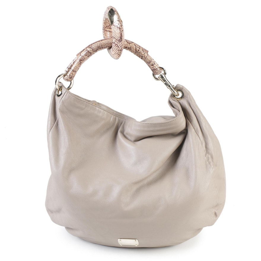 b5a02a1dc57 Jimmy Choo Taupe Leather and Python Sky Hobo Bag with Bangle Accent   EBTH