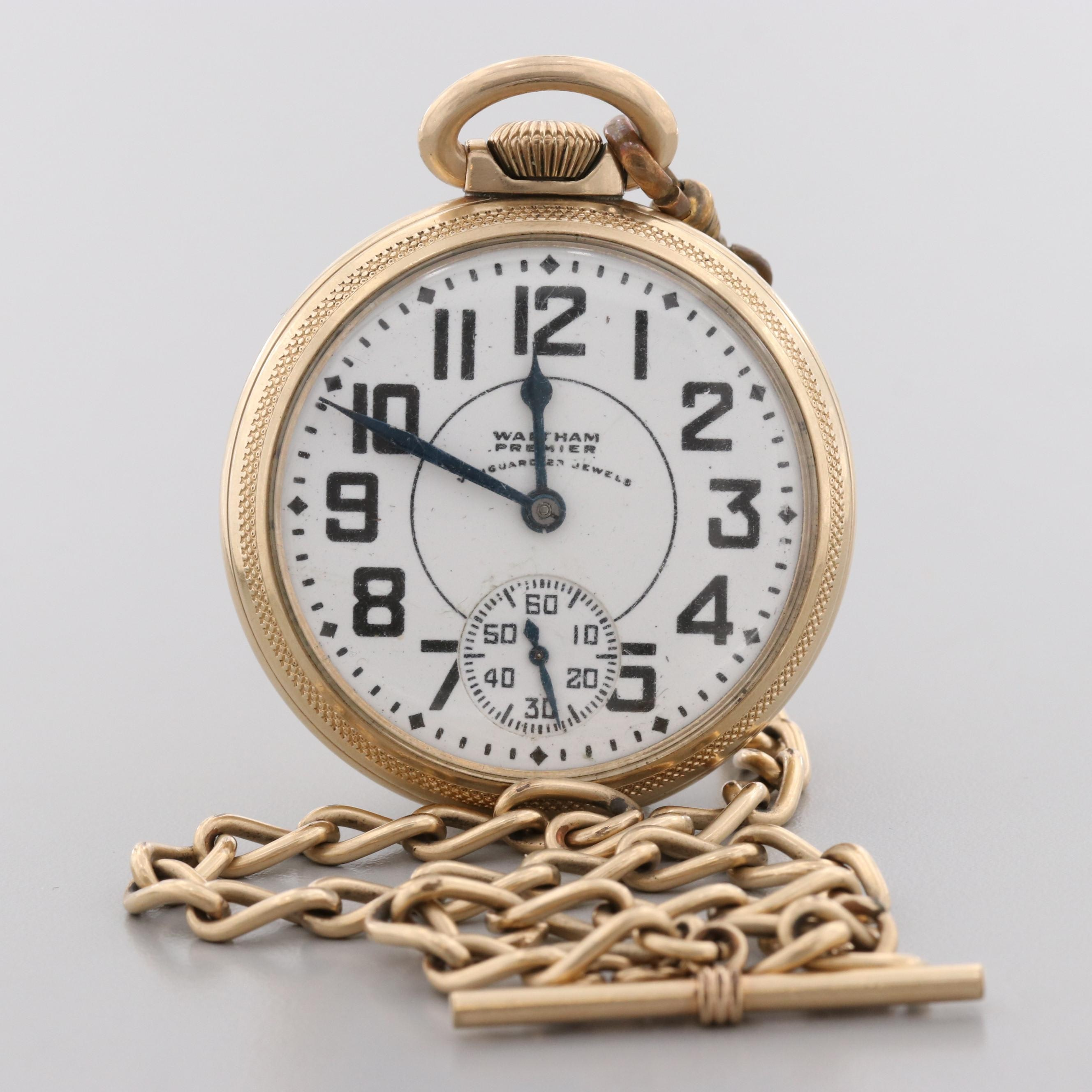 Vintage Waltham Premier Railroad Grade Gold Filled Open Faced Pocket Watch