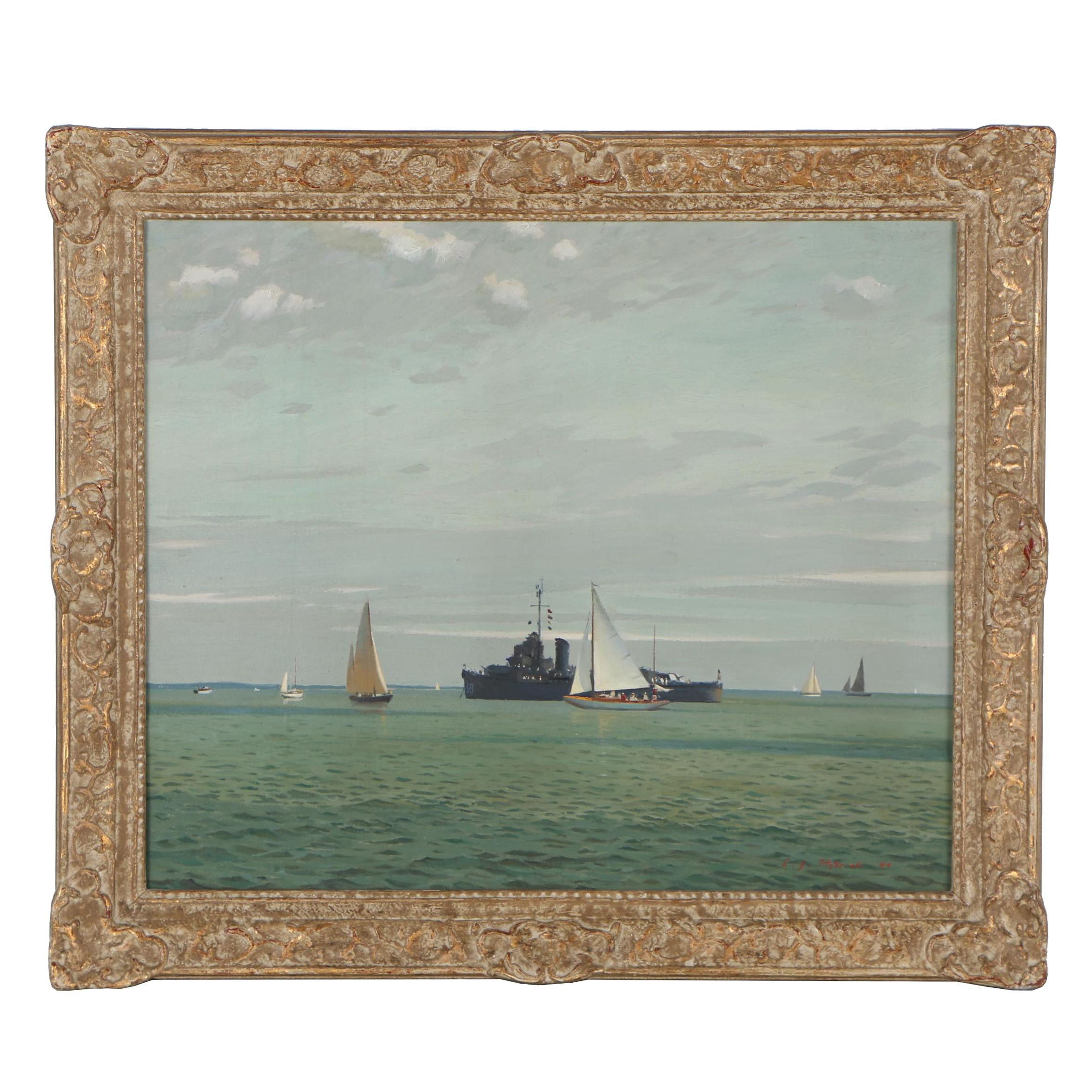 Edmond J. Fitzgerald Nautical Oil Painting