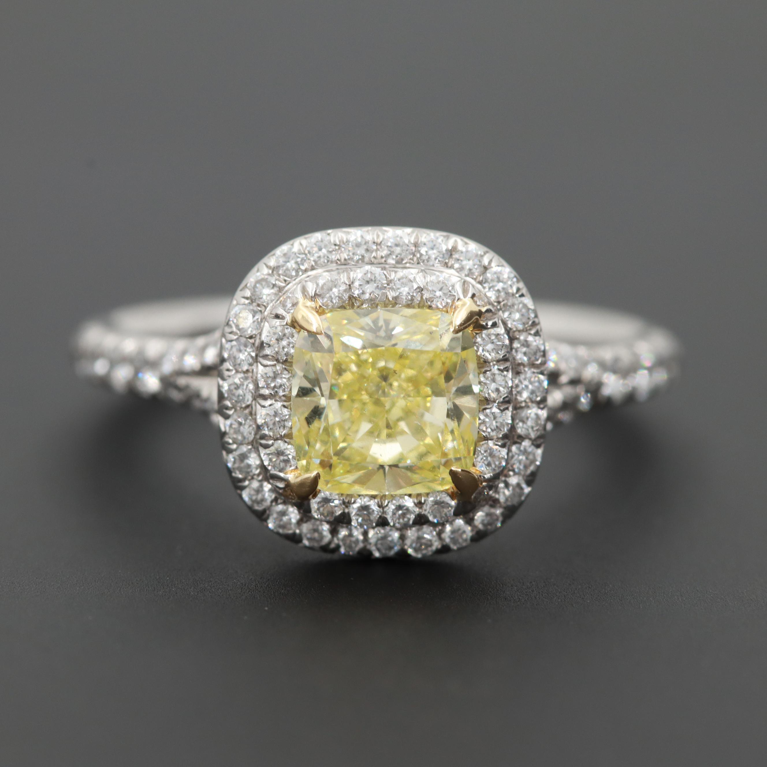Tiffany & Co. Platinum 1.46 CTW Diamond Ring with Fancy Intense Yellow Diamond