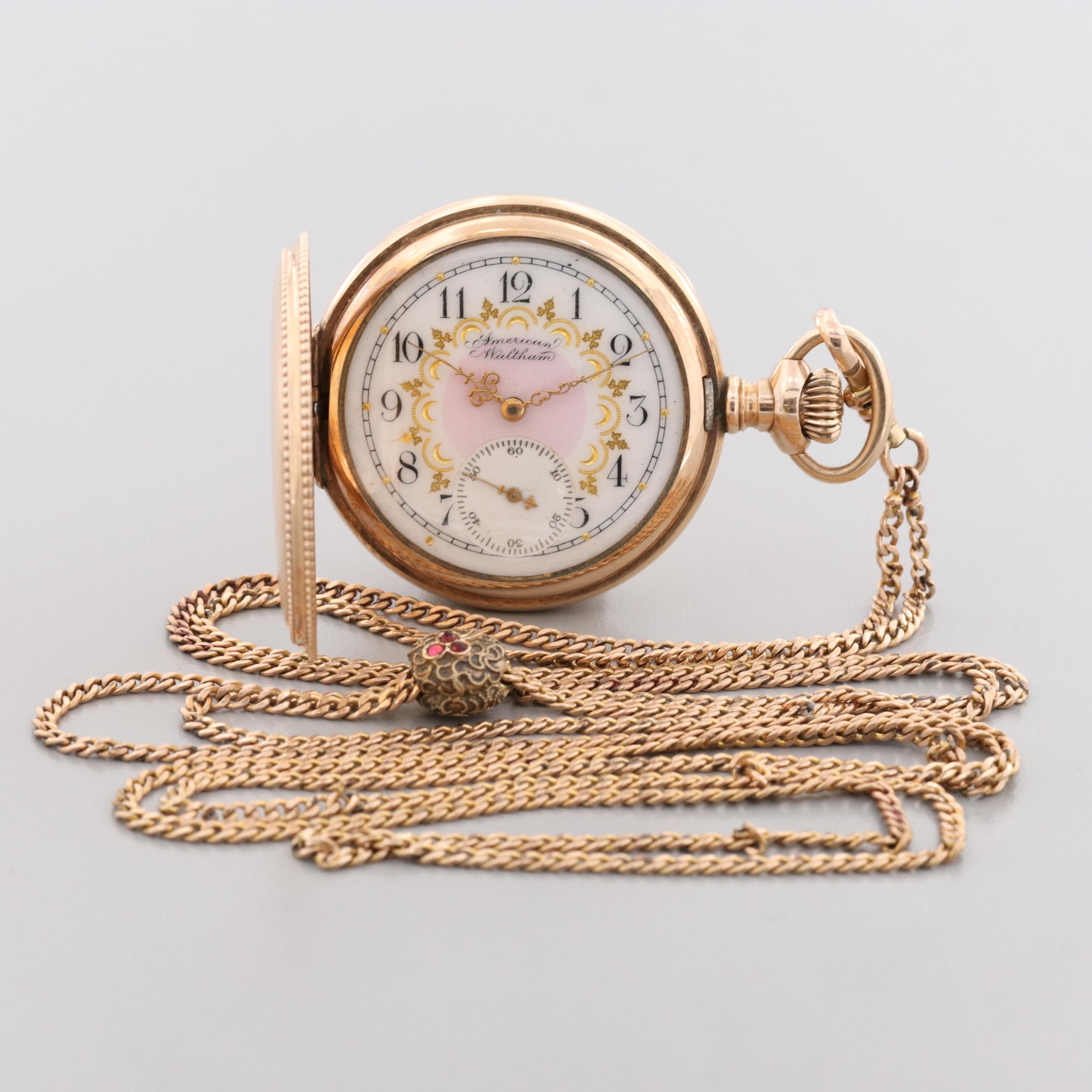 Antique Waltham Gold Filled Hunter Case Pocket Watch and Bolo Chain