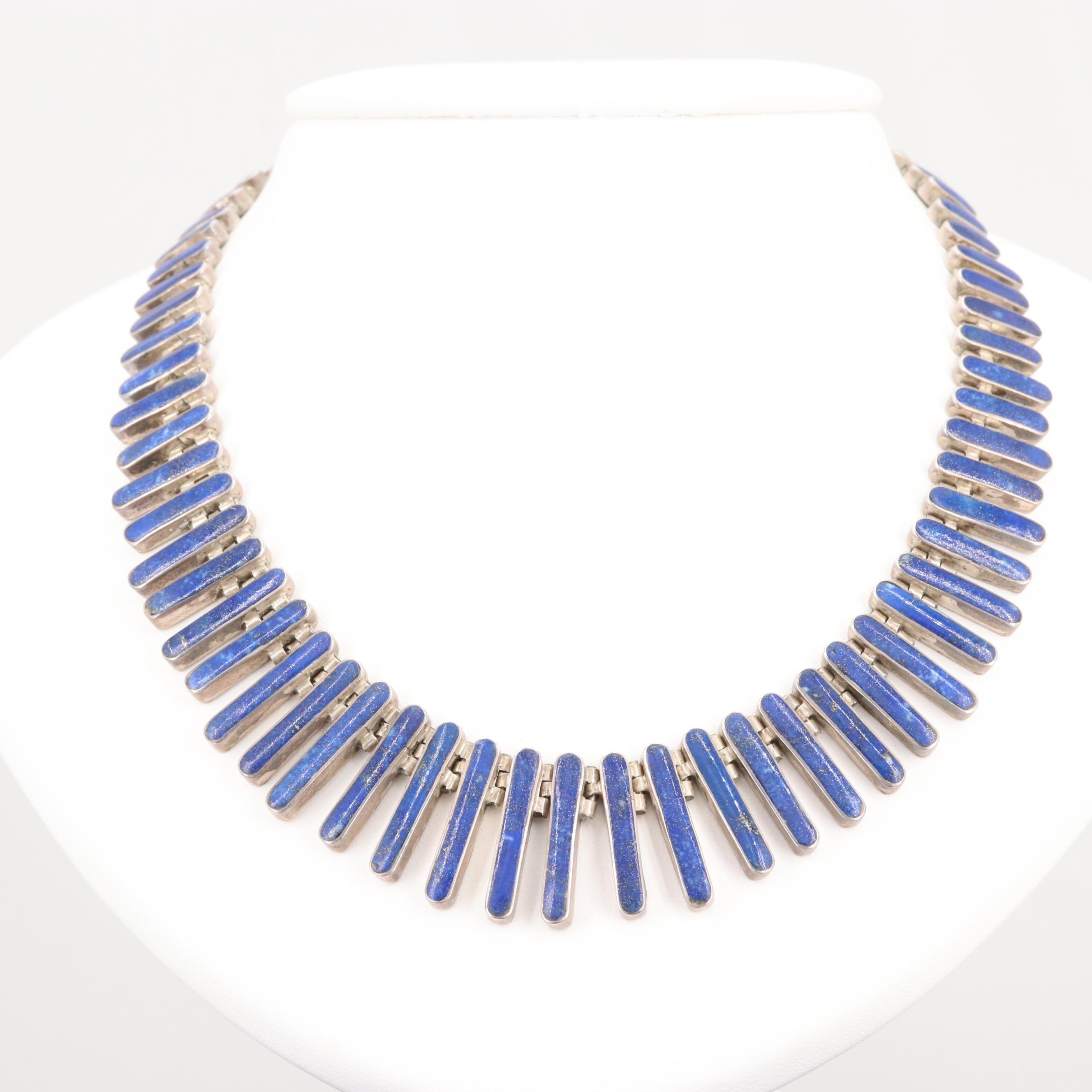 950 Silver Graduated Lapis Lazuli Statement Necklace