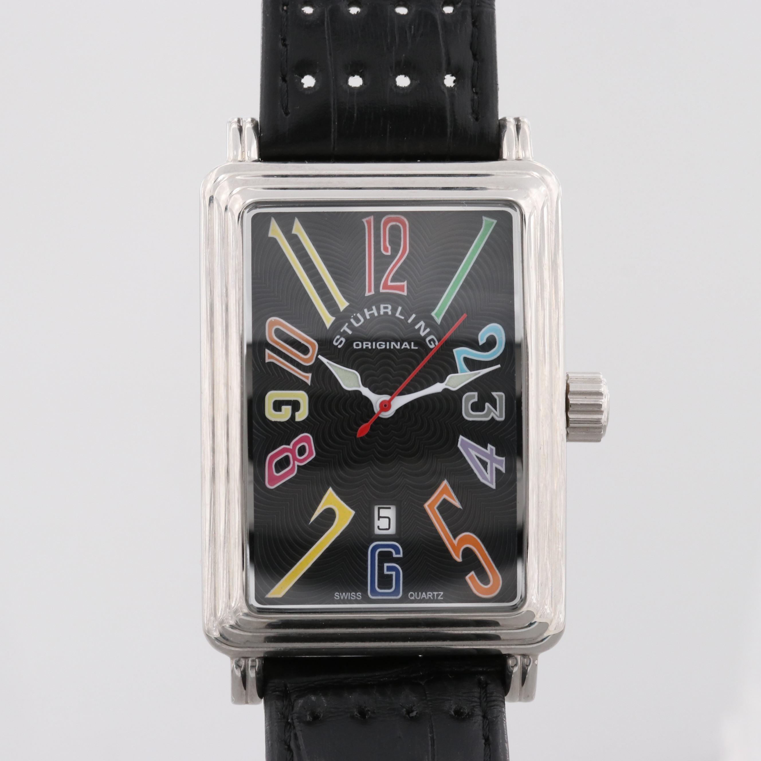 Stührling Manhattan Ozzie Stainless Steel Tank Style Quartz Wristwatch