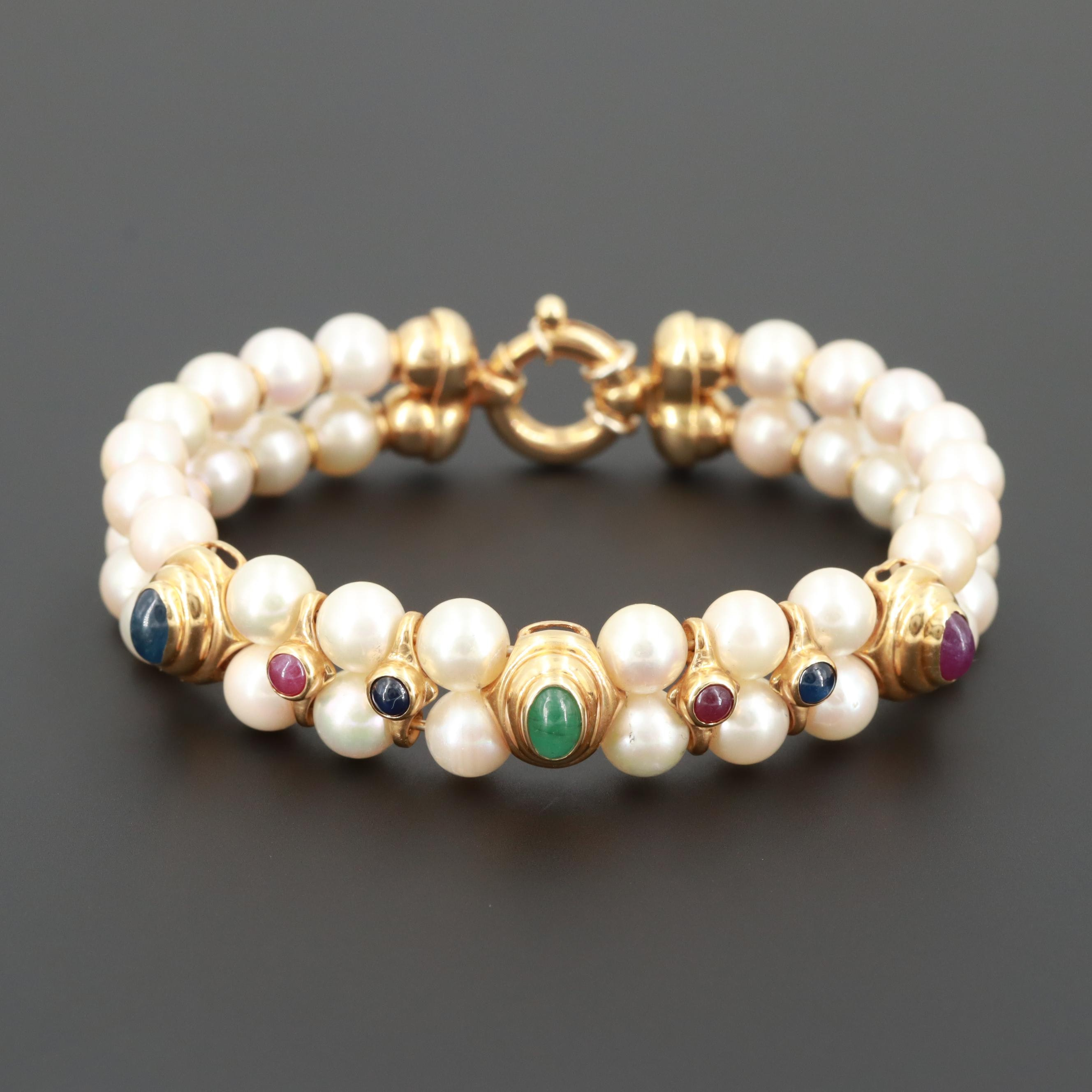 18K Yellow Gold Cultured Pearl Bracelet Featuring Sapphires, Rubies and Emerald