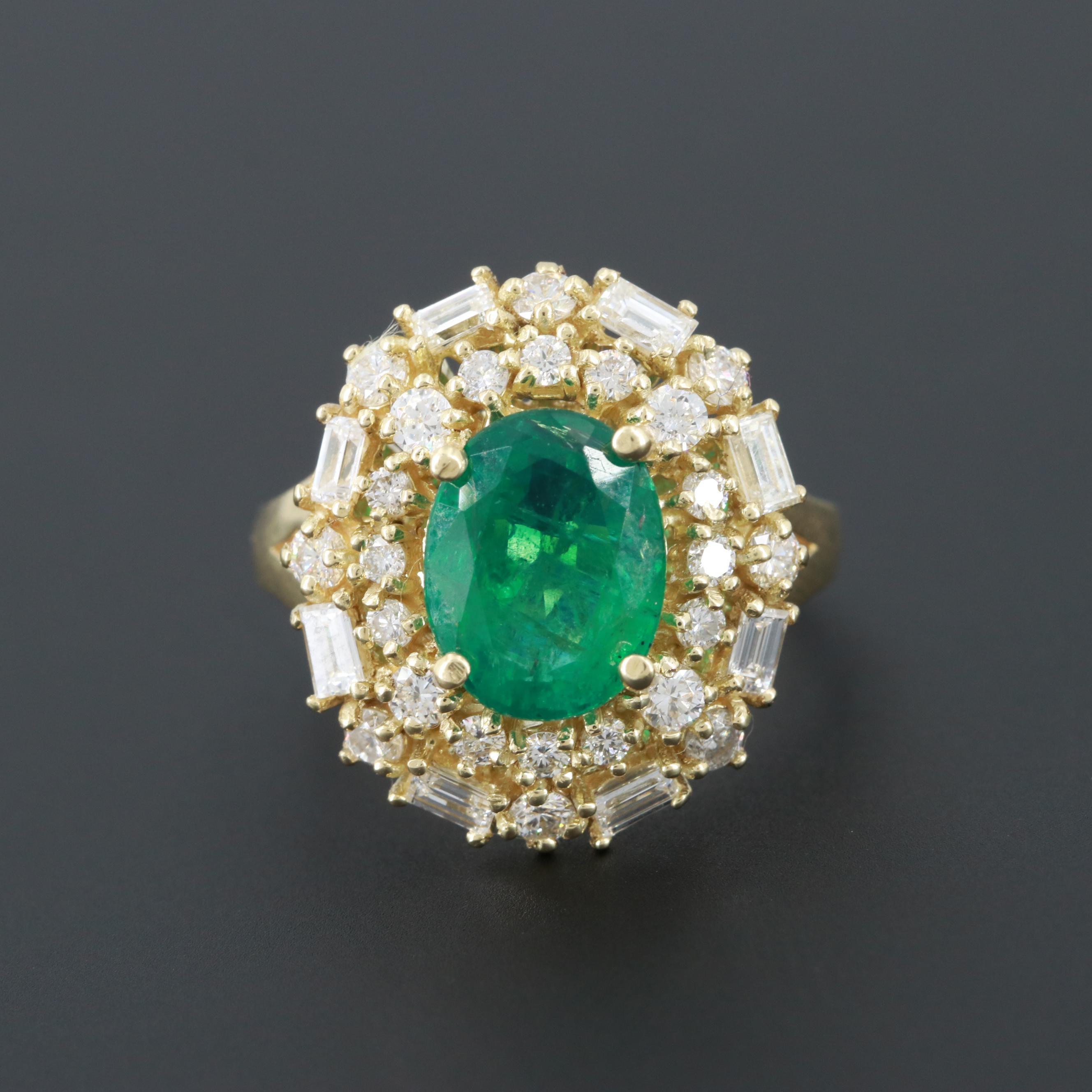 18K Yellow Gold 1.80 CT Emerald and 1.34 CTW Diamond Ring