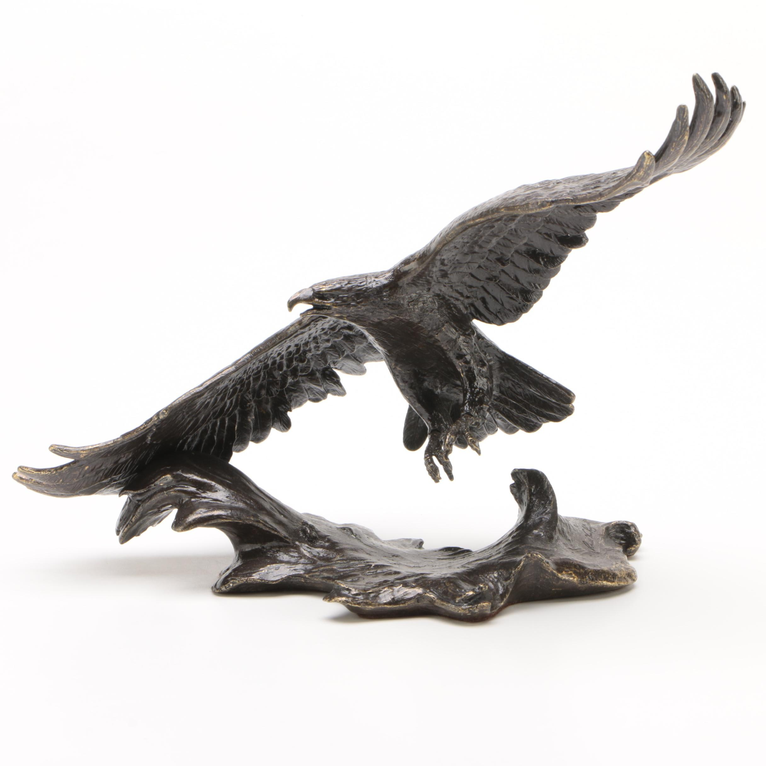"""Patinated Brass """"Winged Majesty"""" Sculpture after Ronald Van Ruyckevelt"""