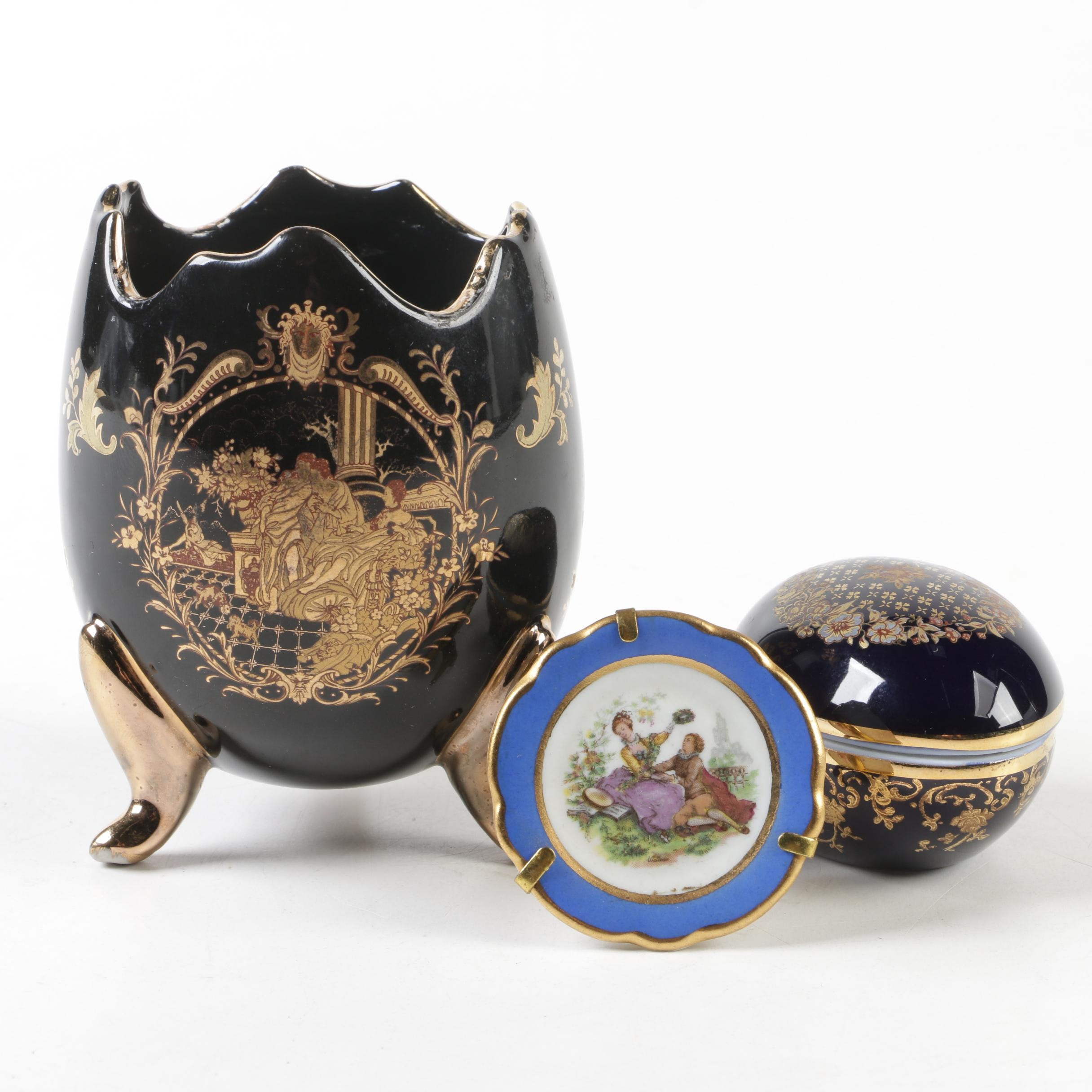 Limoges Porcelain Egg-Shaped Vase and Trinket Box with Miniature Plate