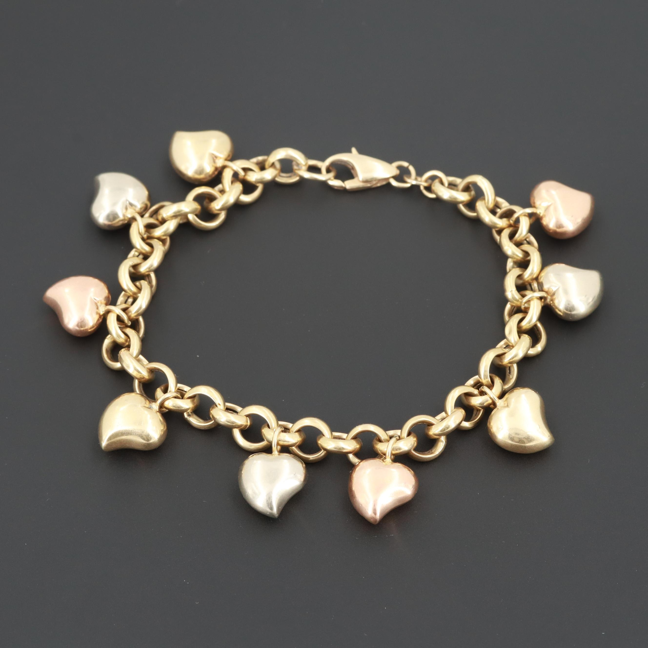 Italian 14K Yellow Gold Puffy Heart Bracelet with White and Rose Gold Charms