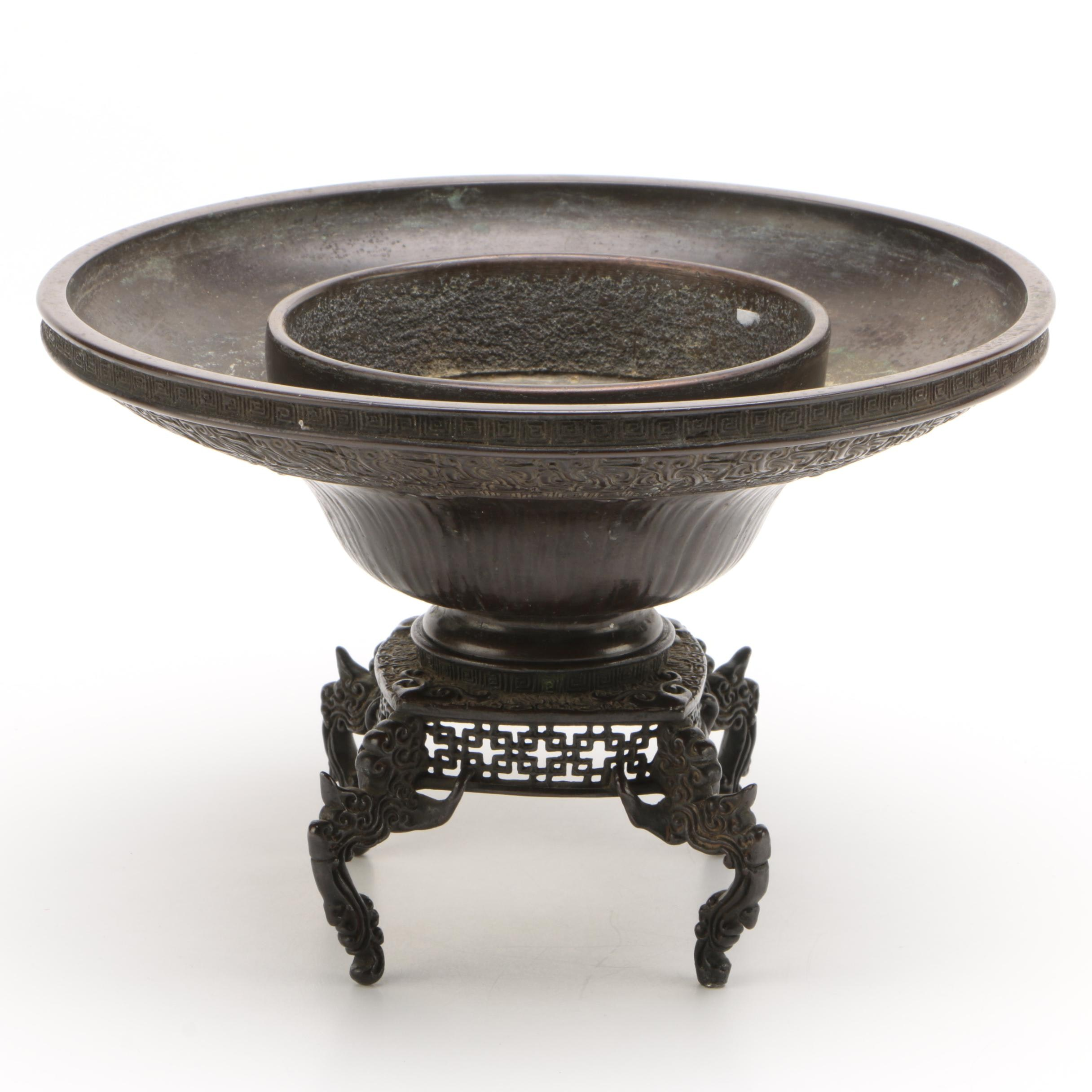 Japanese Bronze Usubata Vase with Pierced Stand, Meiji Period