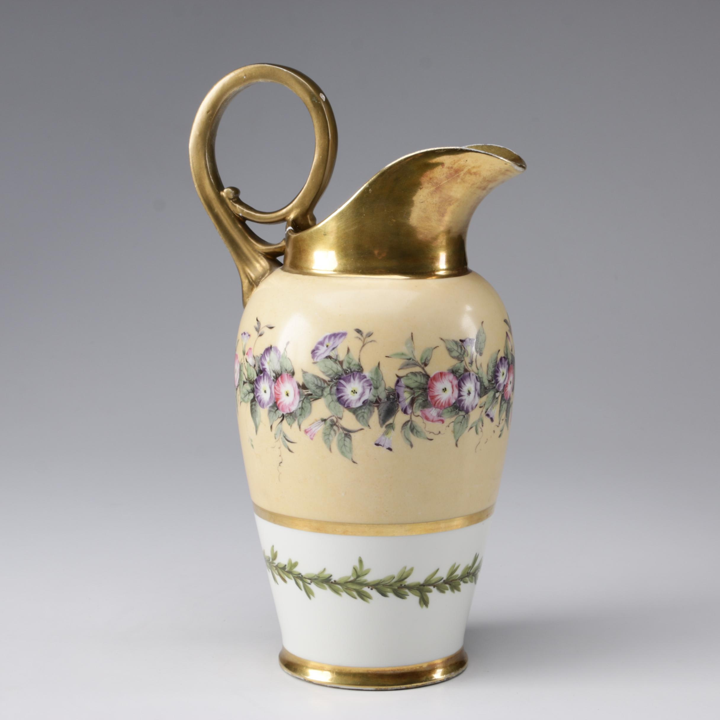 Gilded Yellow and White Porcelain Pitcher, Early 20th Century