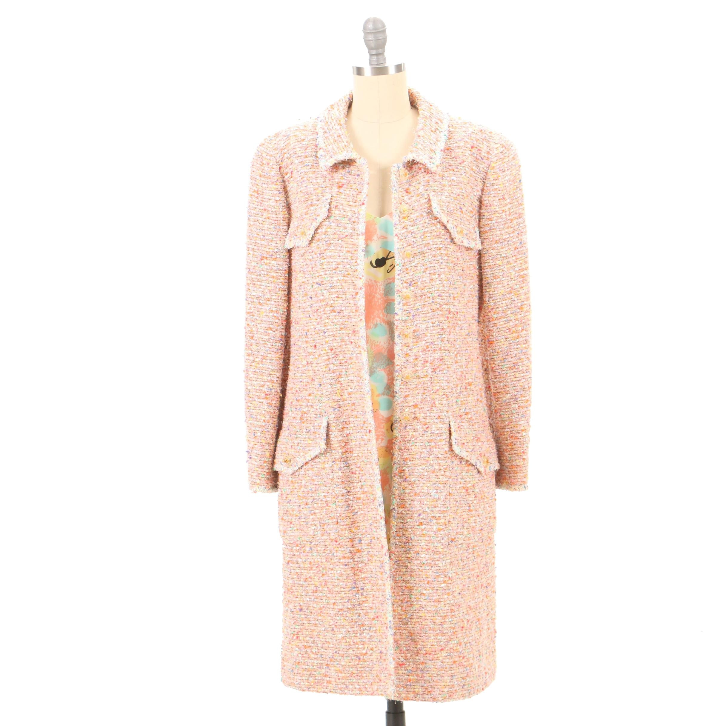 Chanel Spring/Summer 1997 Tweed Coat with Coordinating Floral Print Silk Dress