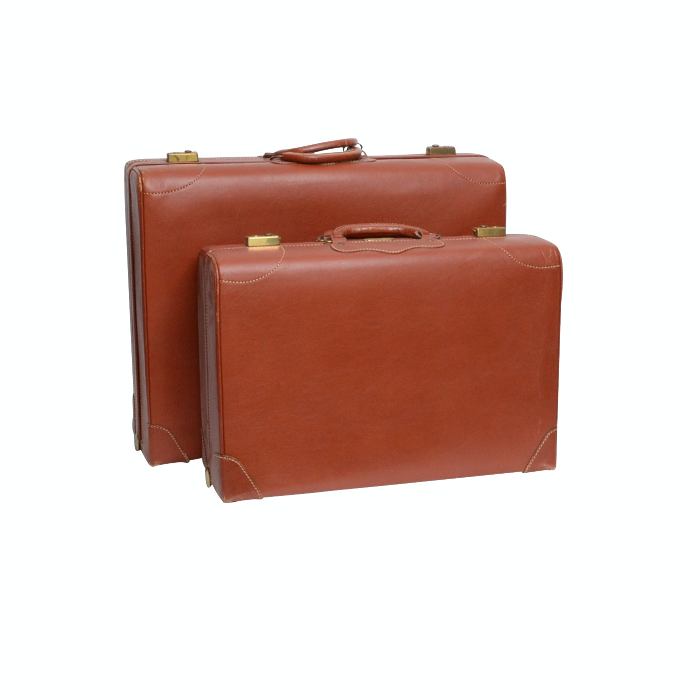 Gladiator by Dresner Leather Monogrammed Luggage, Vintage