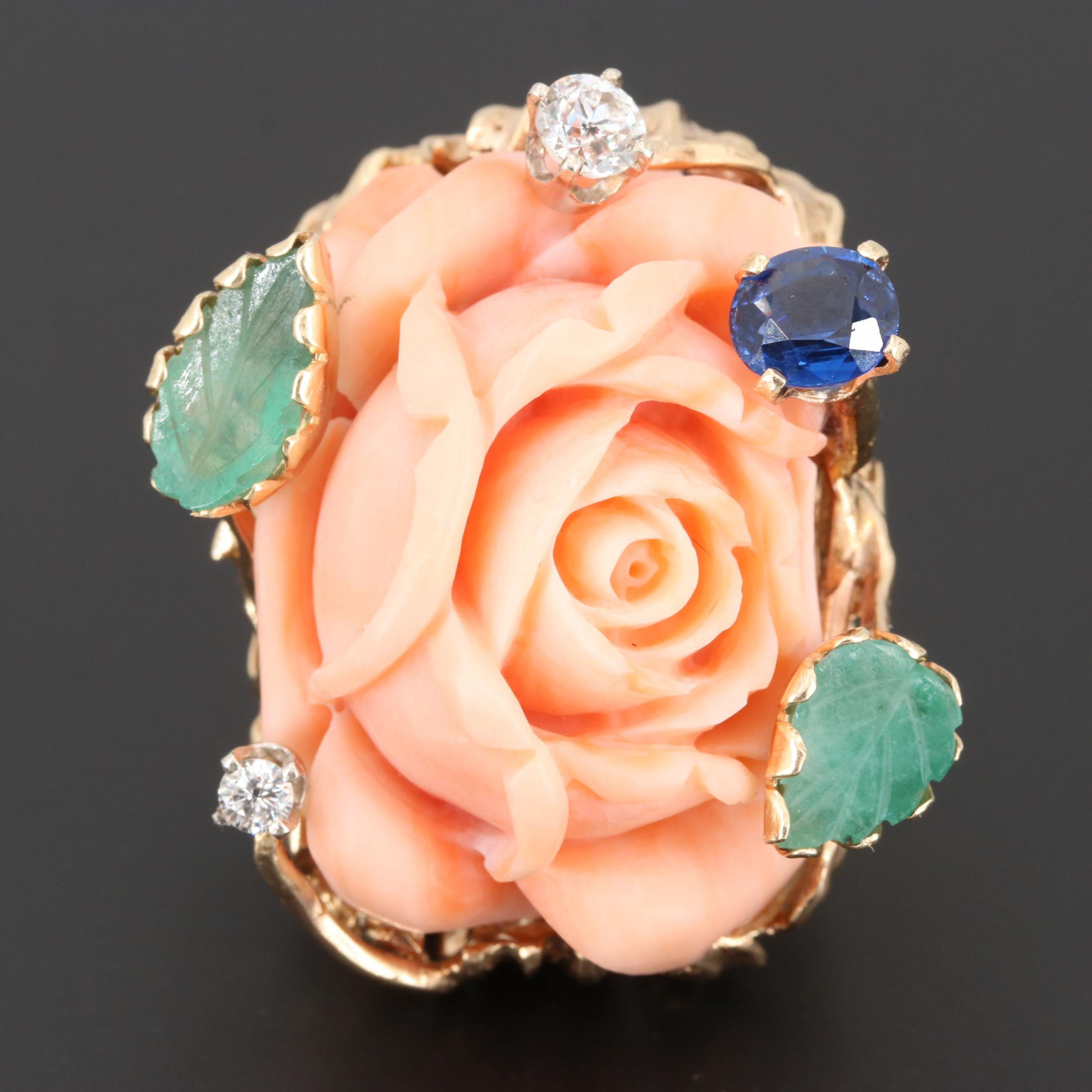Vintage 14K Yellow Gold Coral Blossom Ring with Nephrite, Sapphire and Diamond