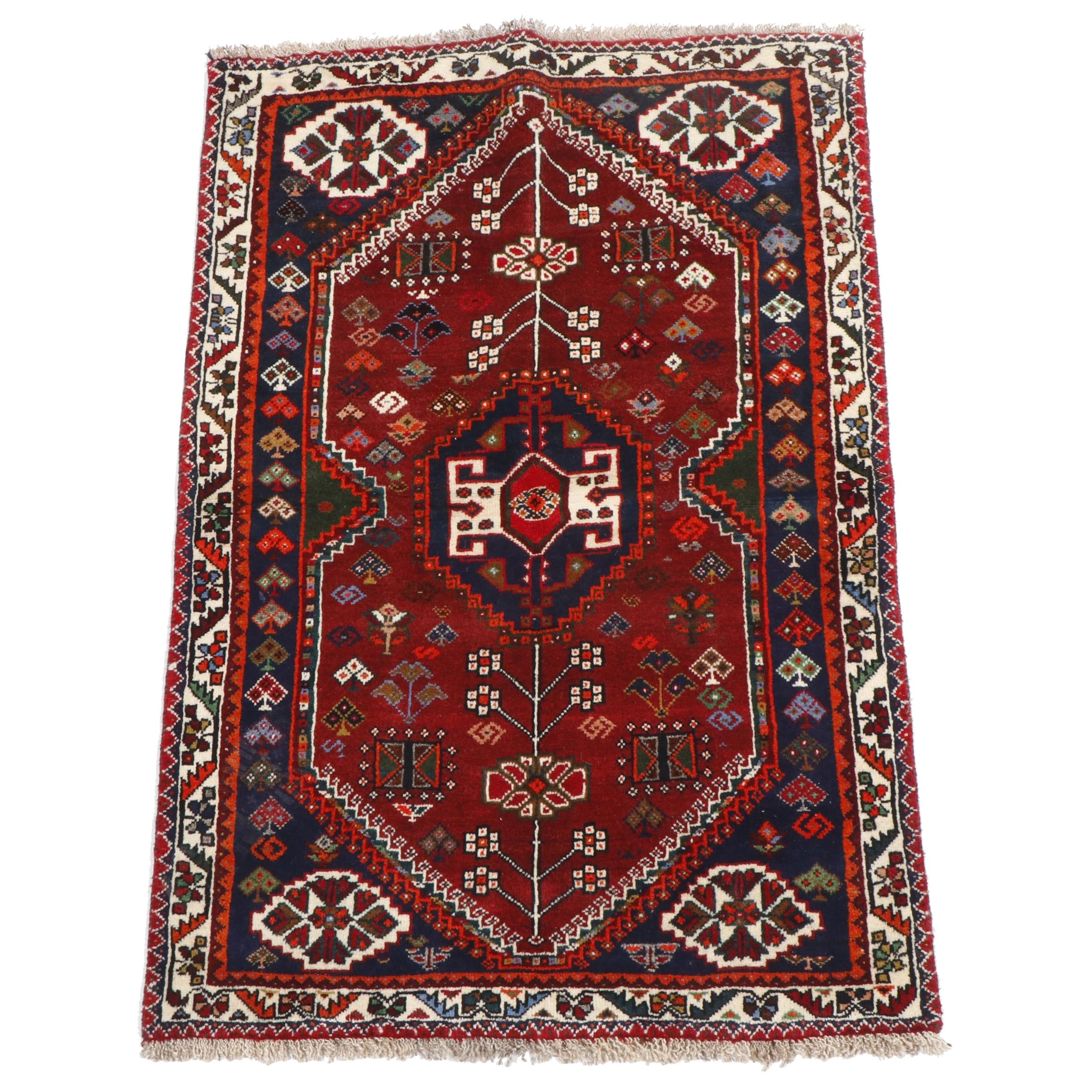 Hand-Knotted Persian Qashqai Wool Rug