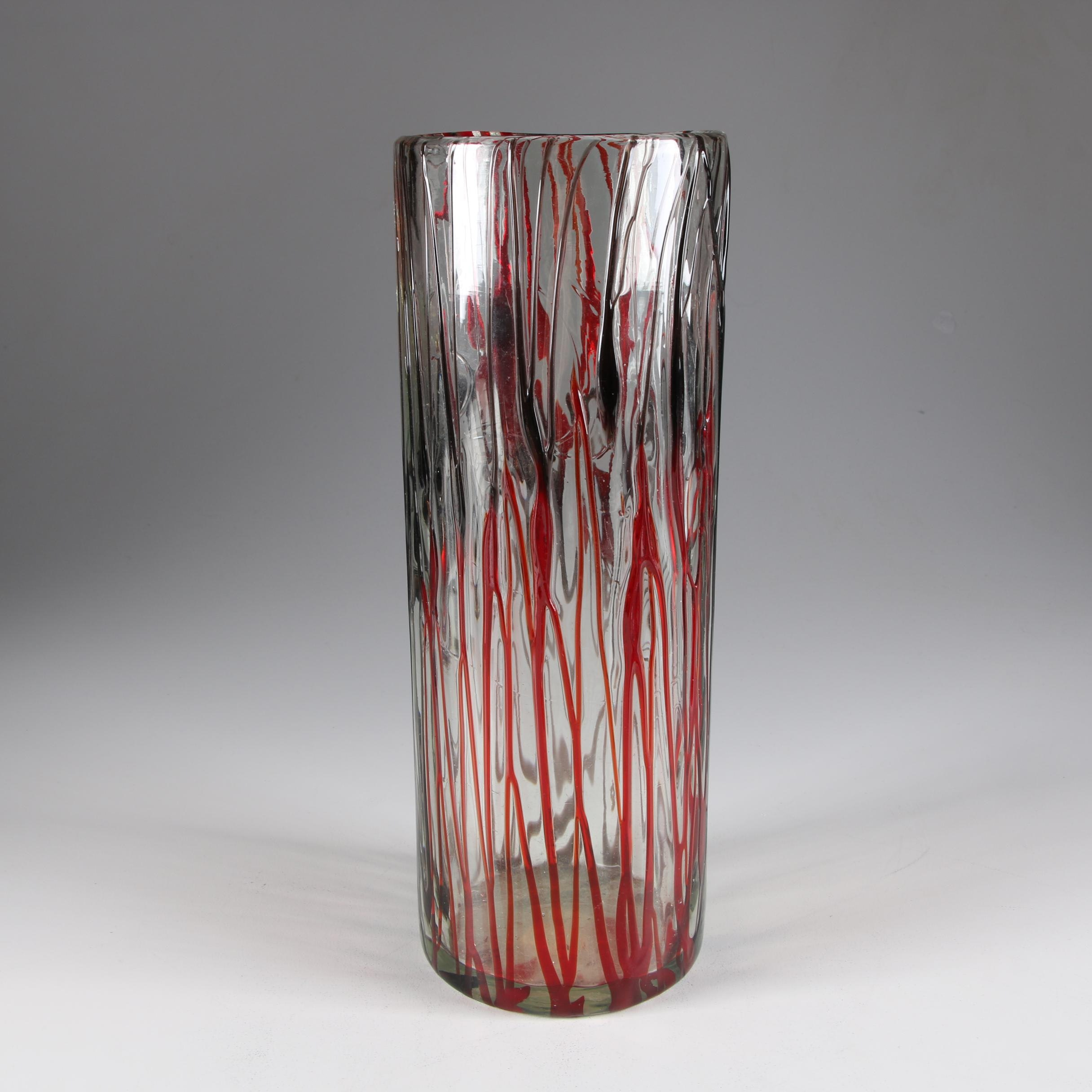 Contemporary Clear and Red Art Glass Vase