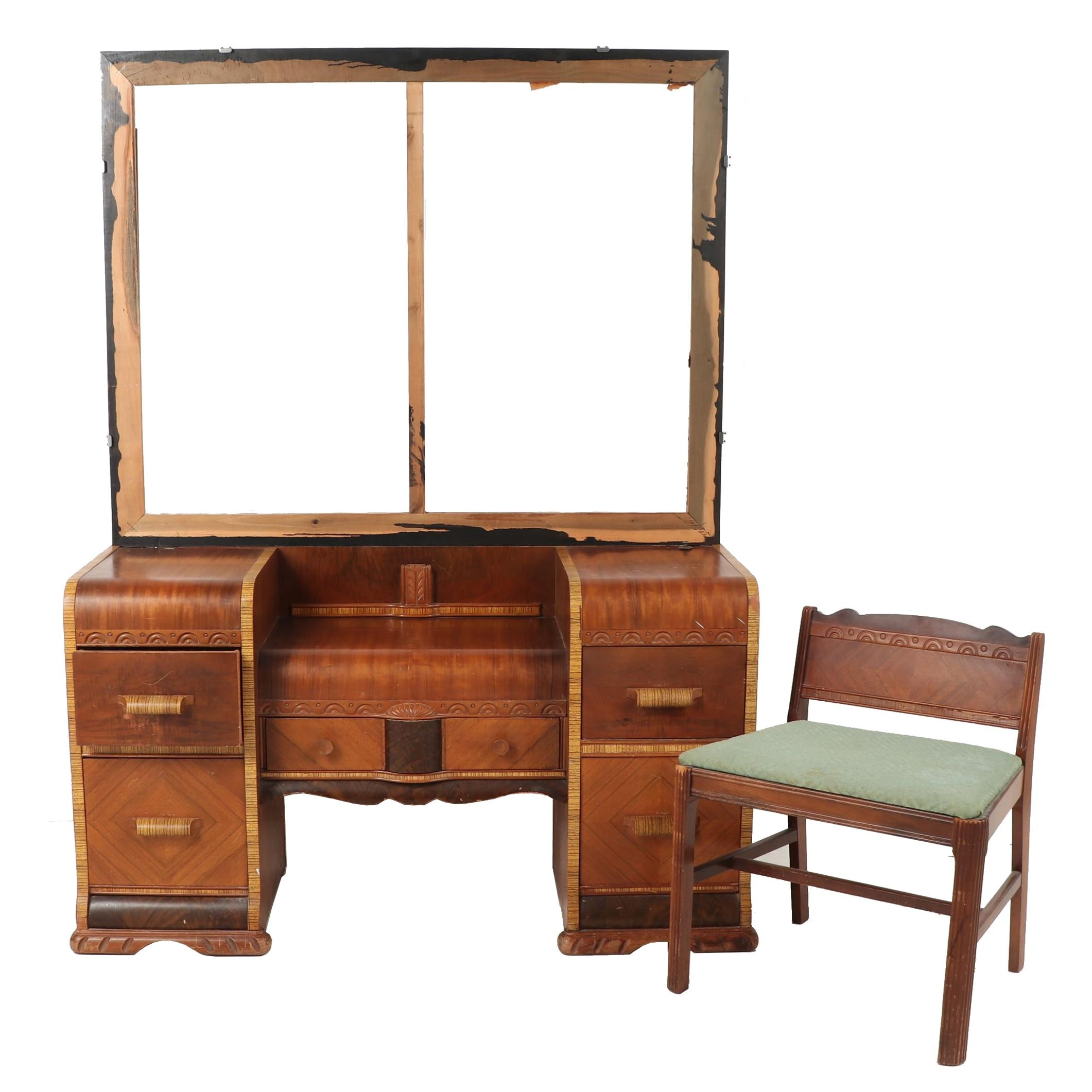 Art Deco Vanity with Bench Seat, Early 20th Century