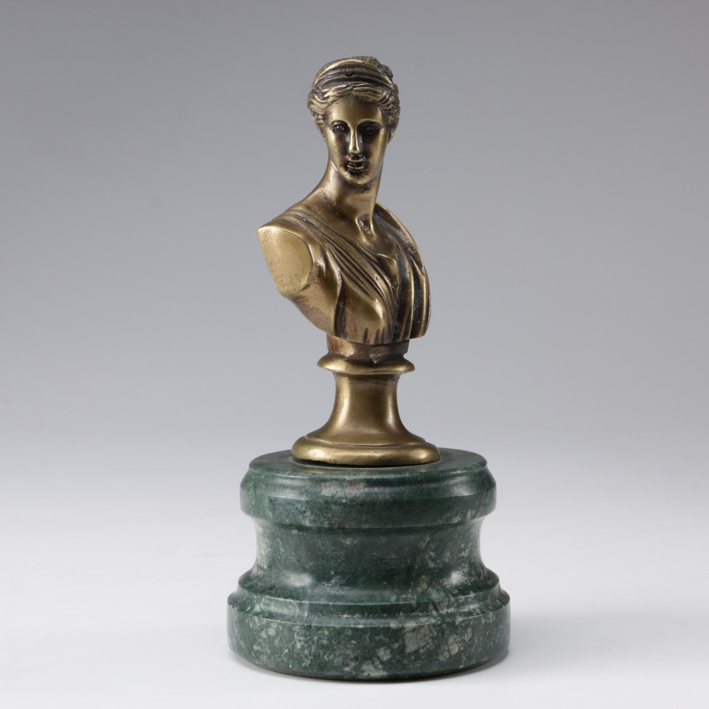 Lacquered Brass Forever Lovely & Beautiful Grecian Bust with Green Marble Base