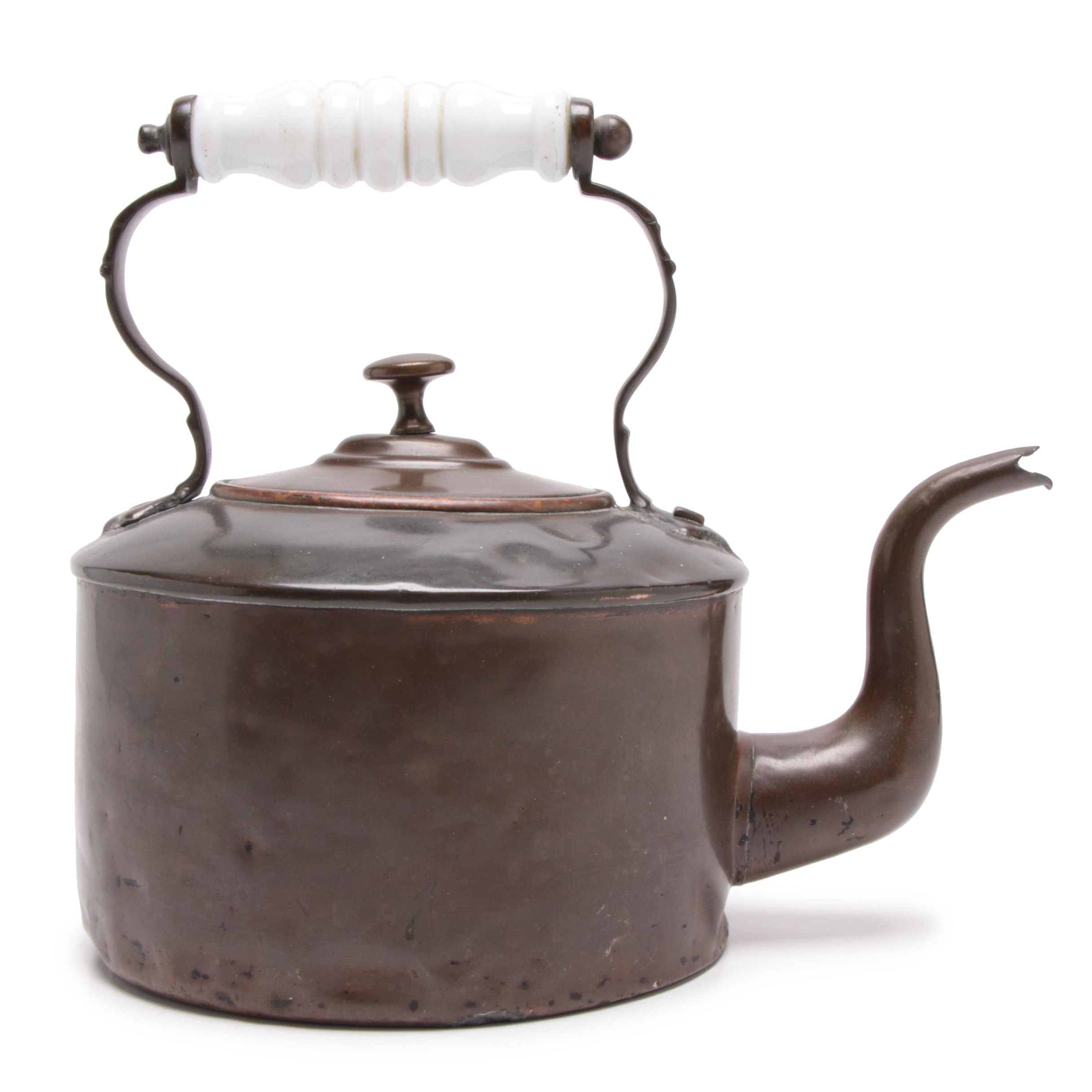 Antique Bronze Cast Tea Kettle with White Porcelain Handle