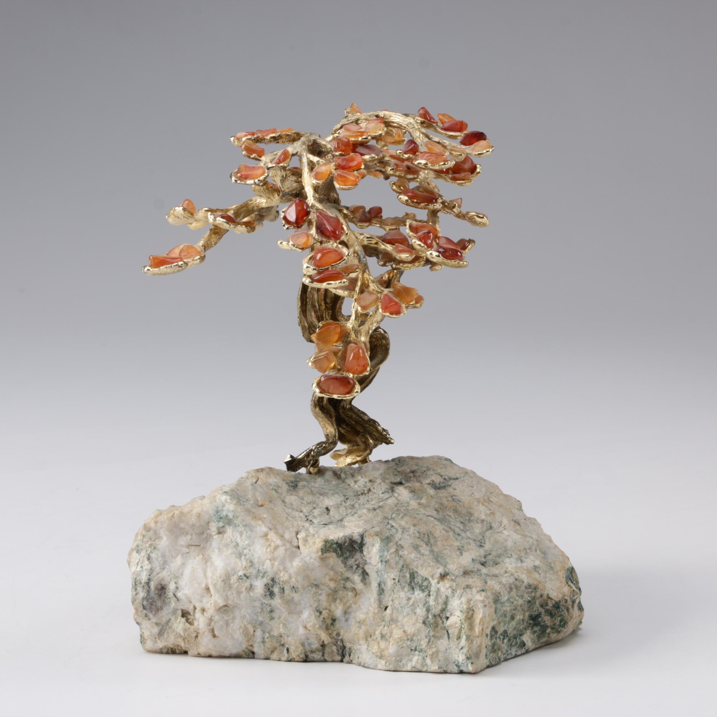 Brass Bonsai Tree with Carnelian Blossoms on Calcite Base