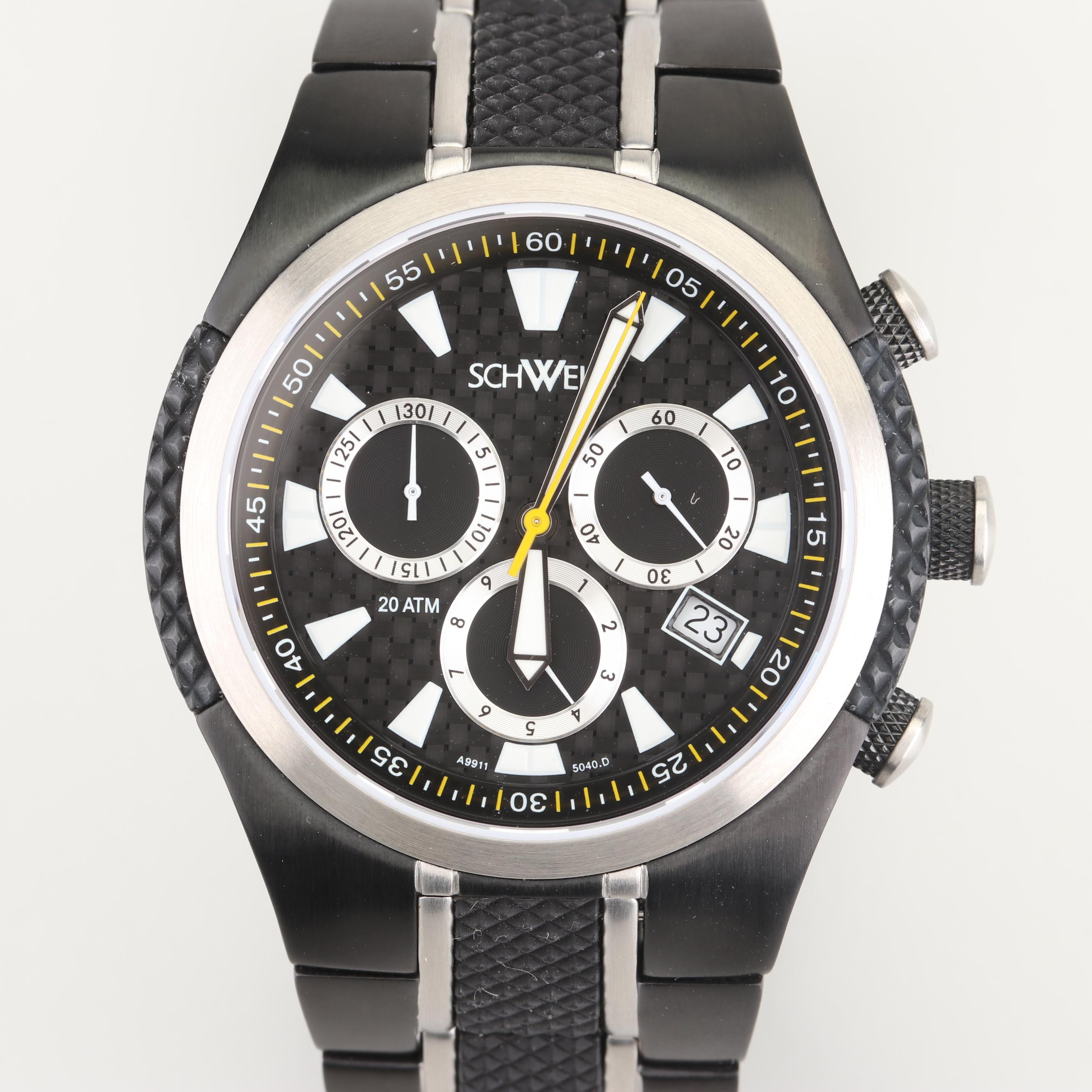 Schweiss Swiss Chronograph Black Stainless Steel and Rubber Wristwatch