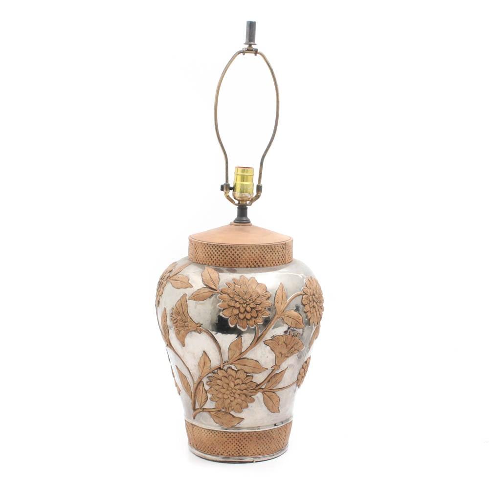 Ceramic Table Lamp with Chrome Metallic Glaze