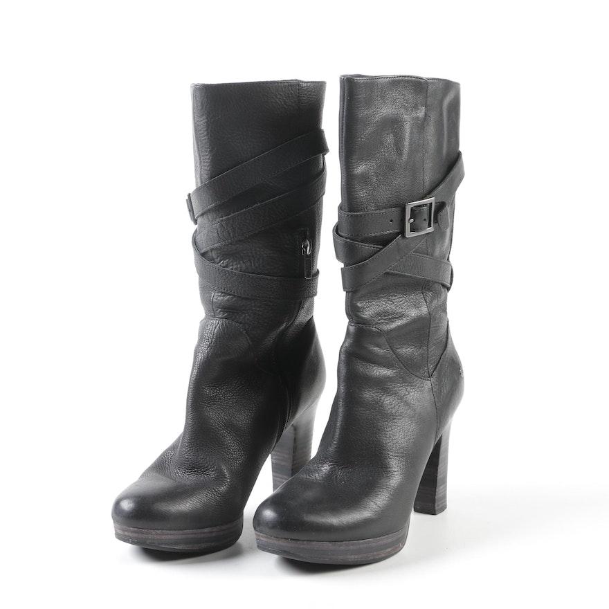 6cb94715e4a Women's UGG Black Leather Jardin Belted Platform Boots