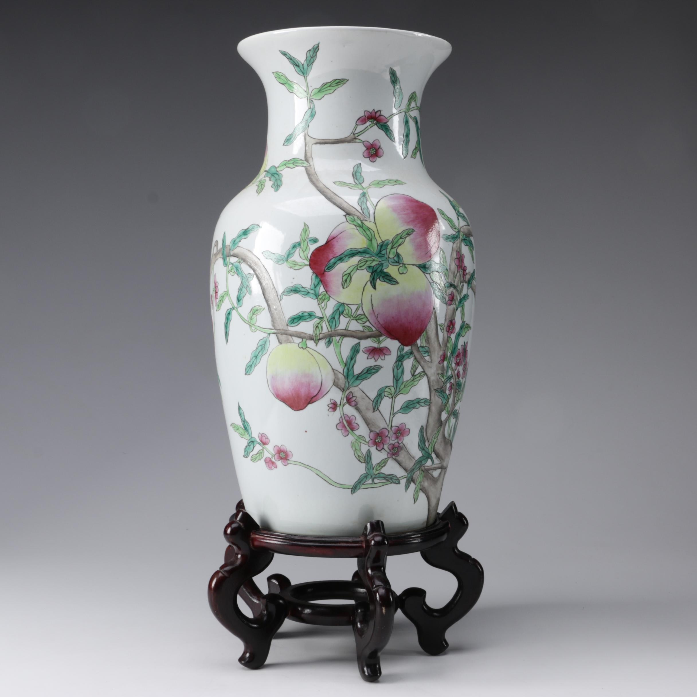 Chinese Bats and Peaches Porcelain Vase on Wood Stand