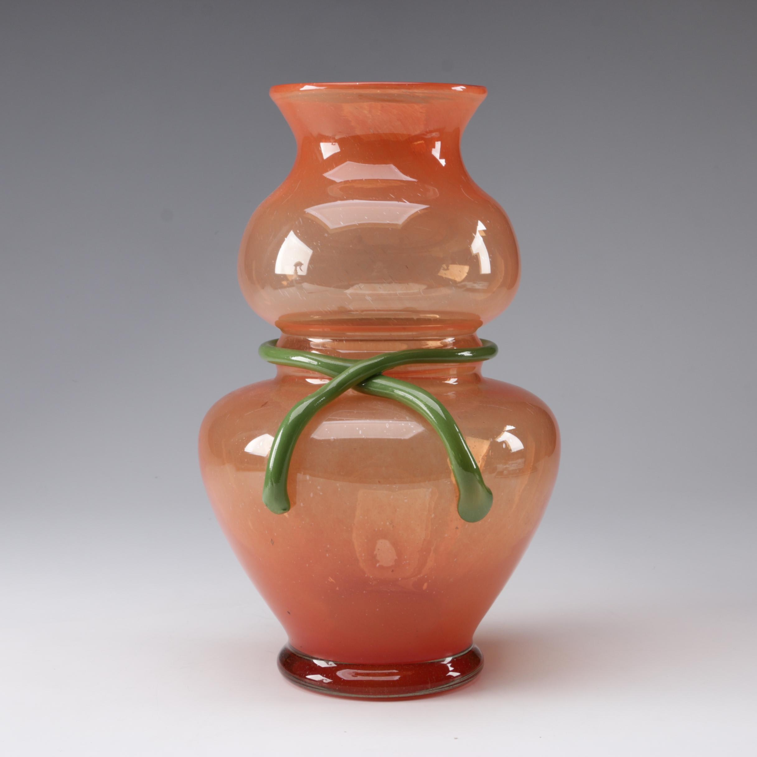 Romanian Hand Blown Orange and Green Art Glass Gourd Vase