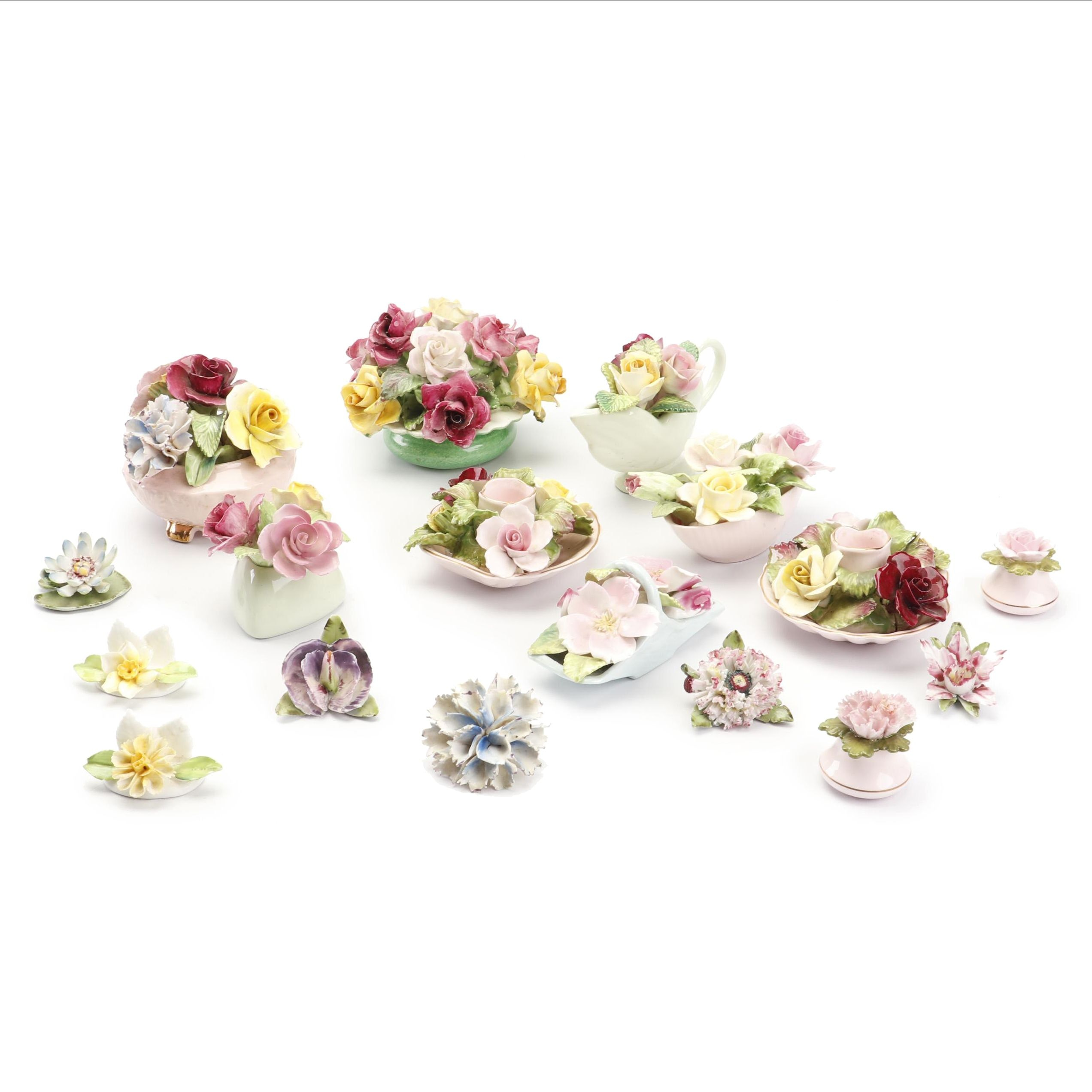 Collection of English China Floral Decor with Staffordshire, Coalport and More