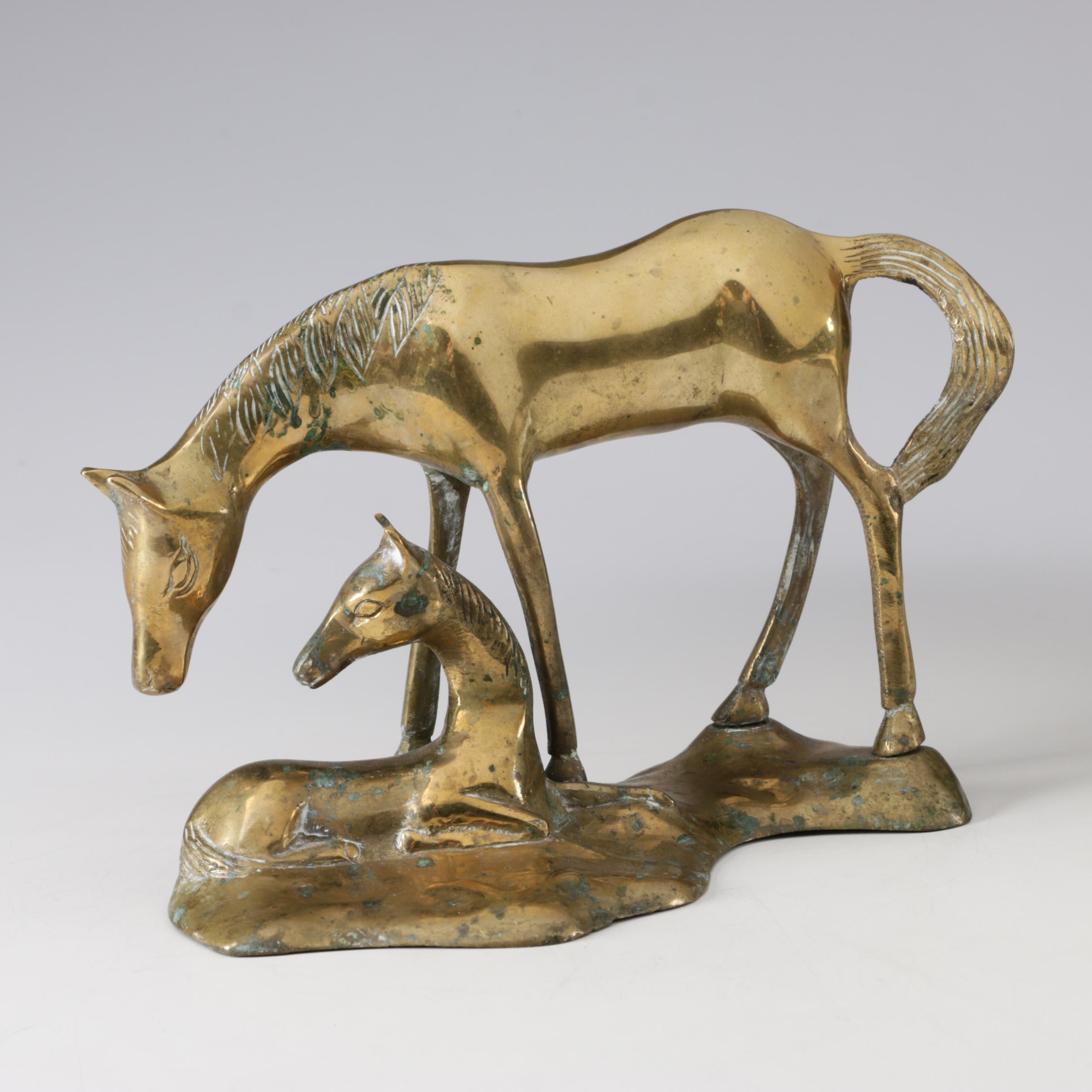 Cast Brass Mare and Foal Figurine, 1960s