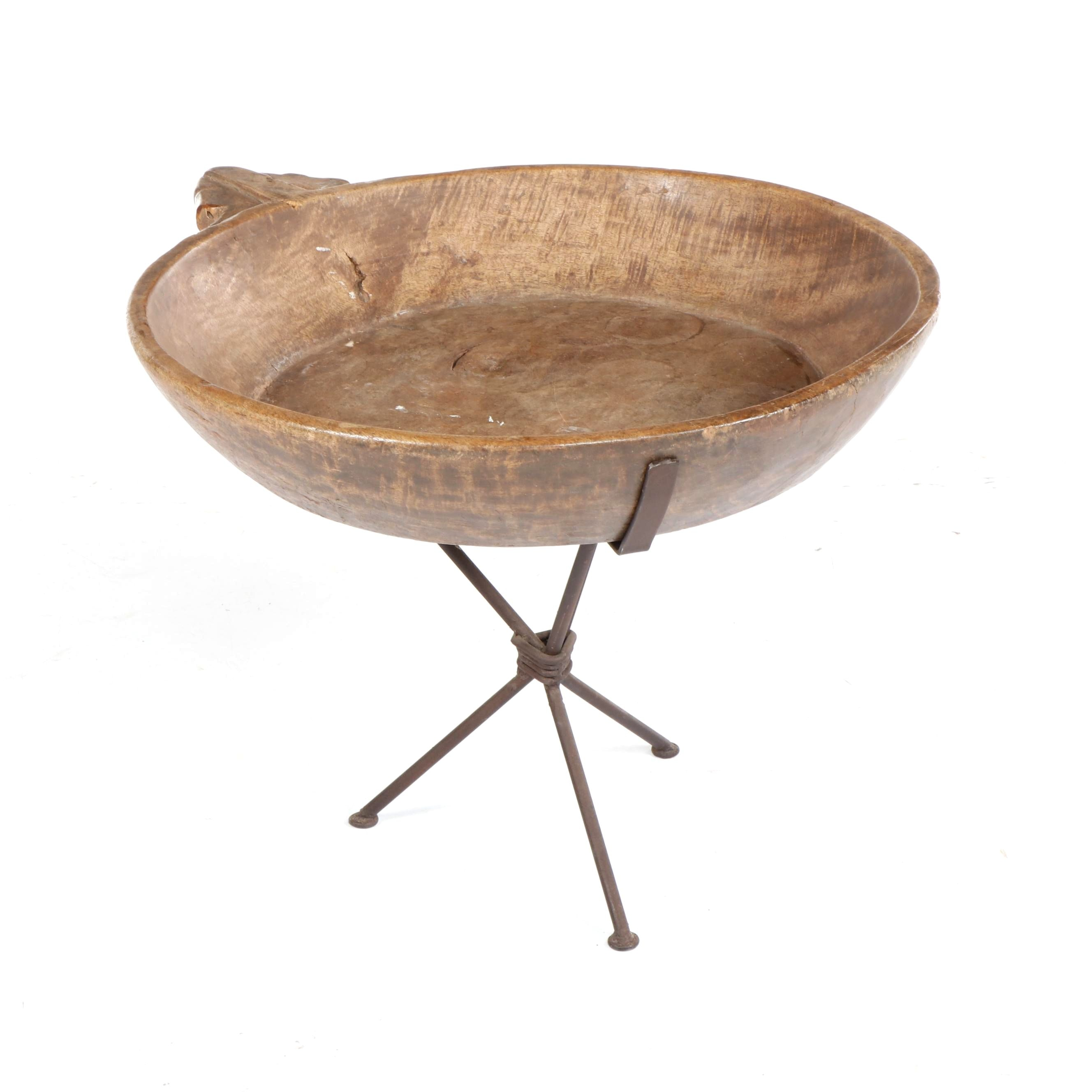 Primitive Wooden Dough Bowl with Iron Stand Accent Table, 19th Century and Later