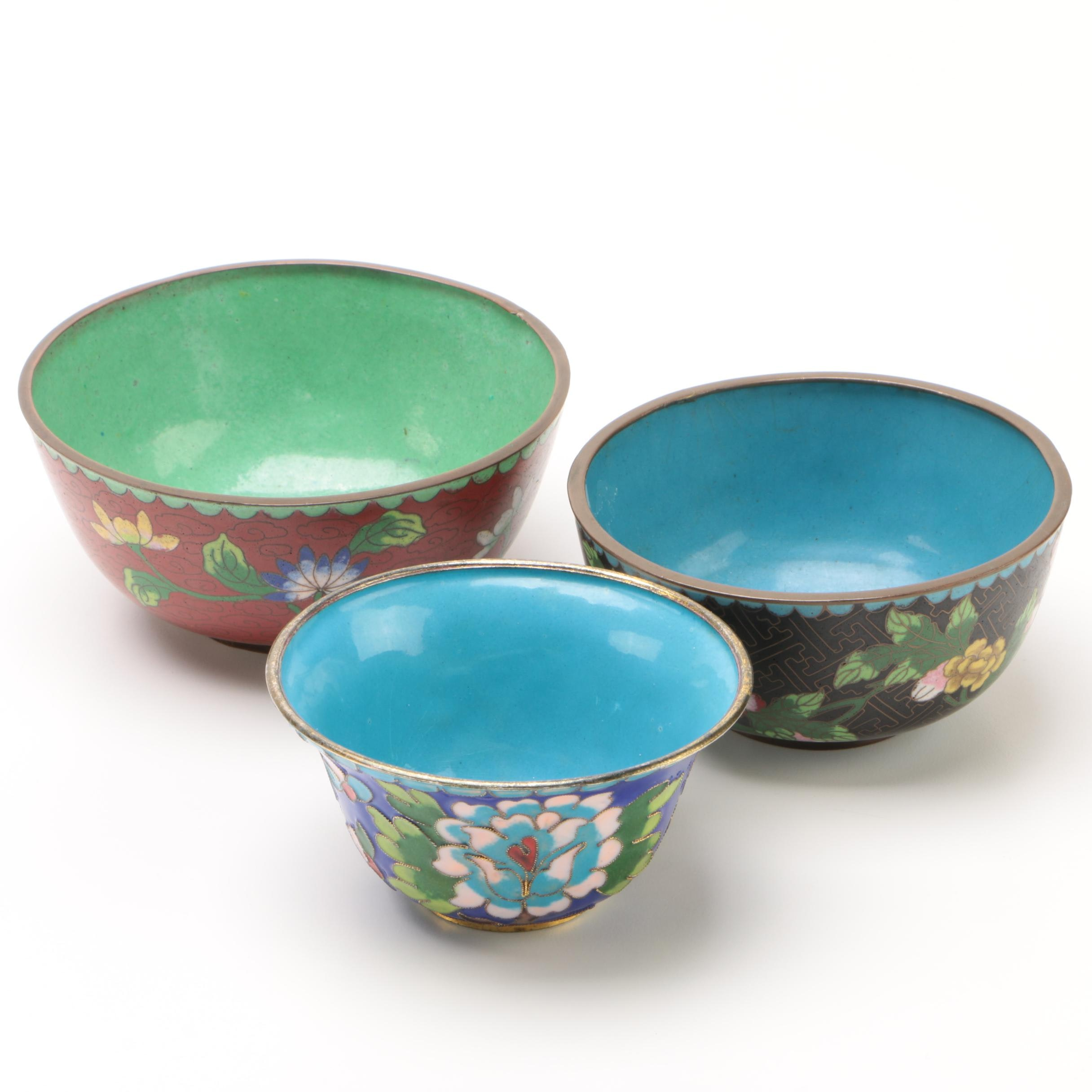 Chinese Floral Cloisonné Rice Bowls, Late 20th Century