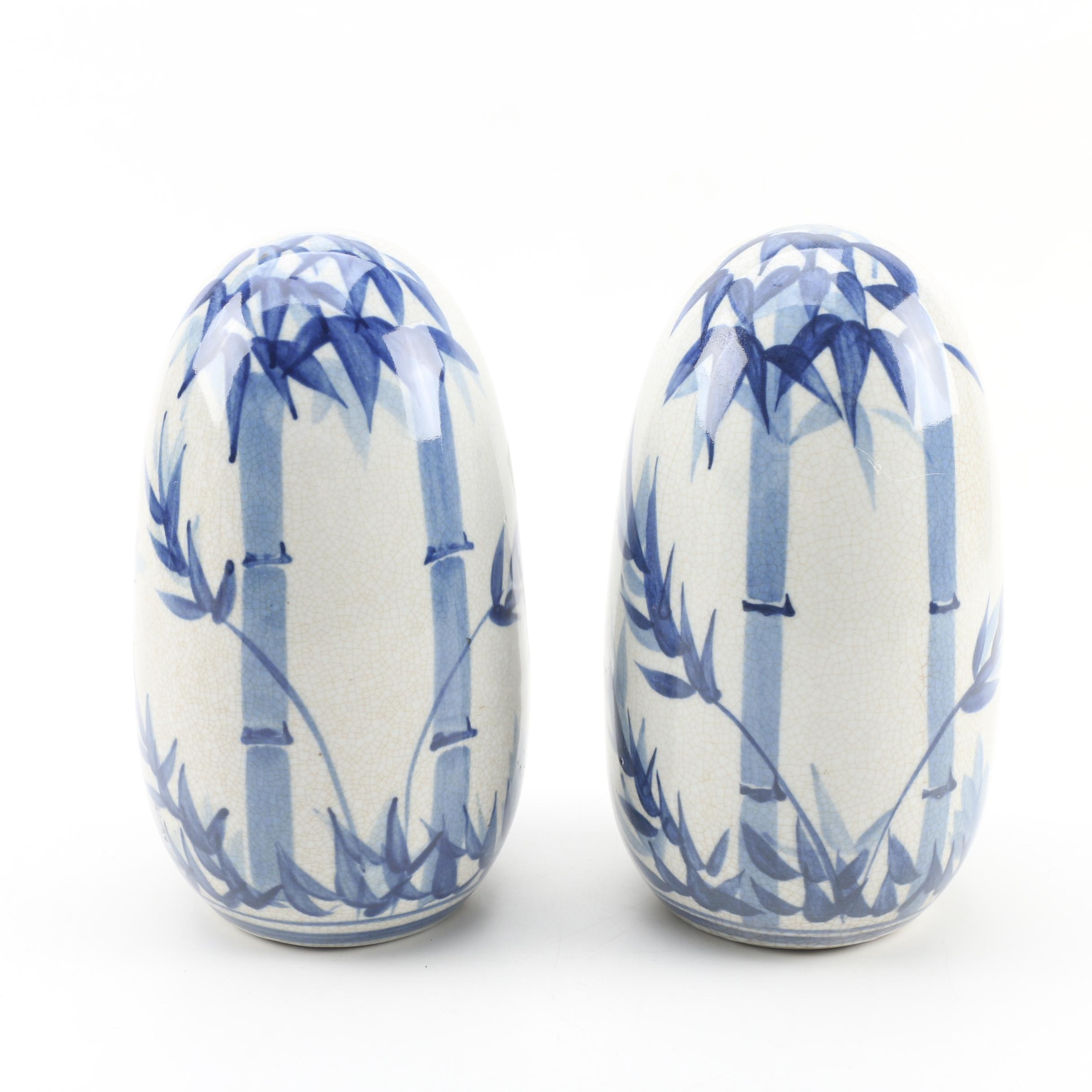 Chinese Blue and White Porcelain Bookends with Bamboo Motif