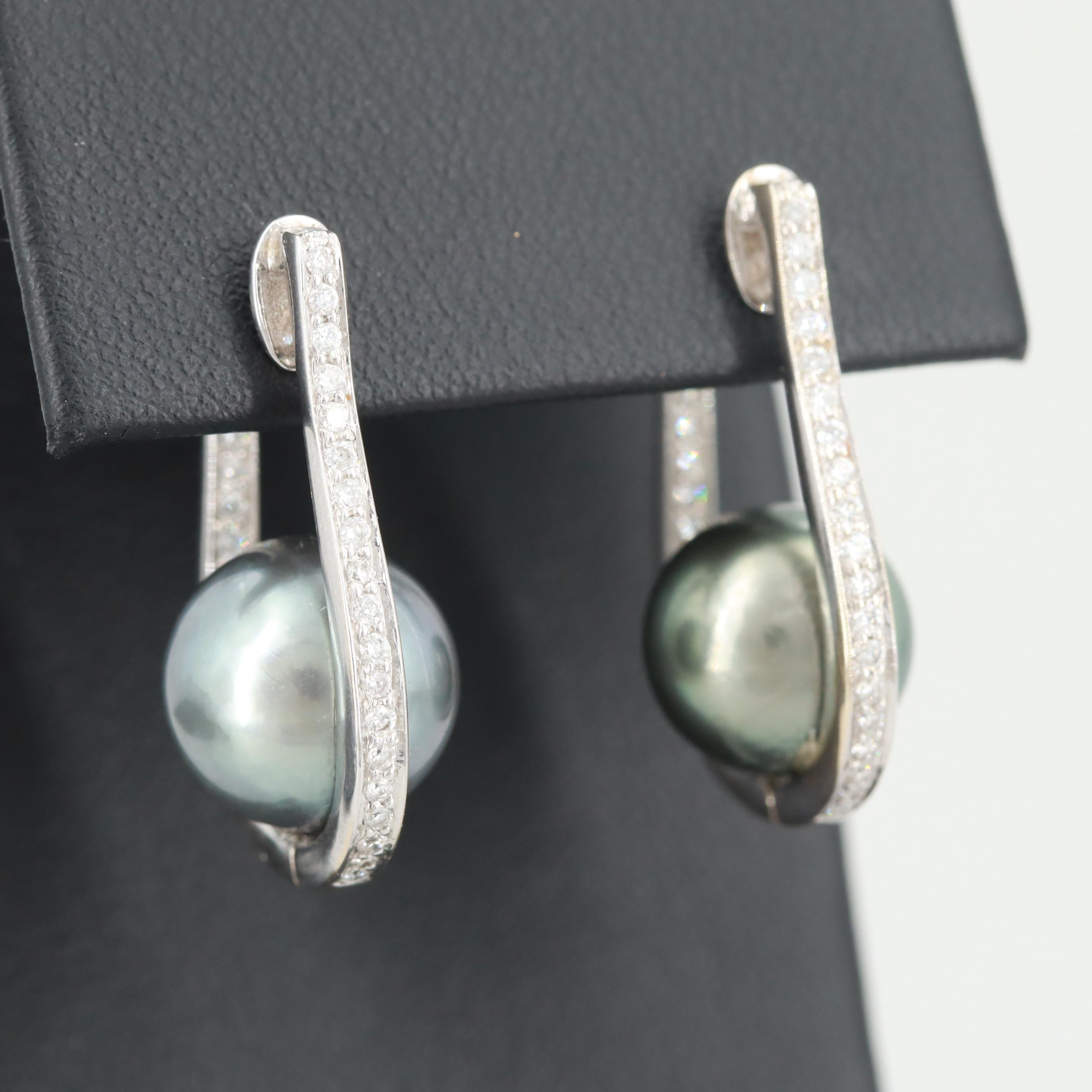 18K White Gold Cultured Pearl and Diamond Inside Out Earrings