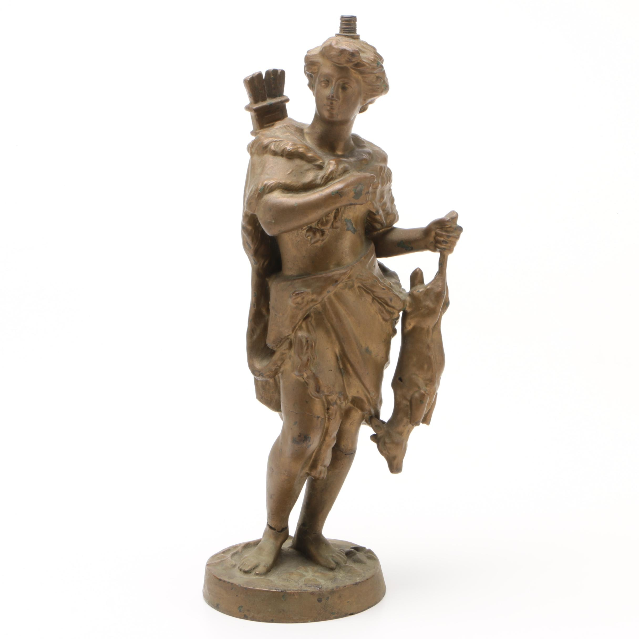 Classical Style Painted Bronze Lamp Base of Hunter, Early 20th Century