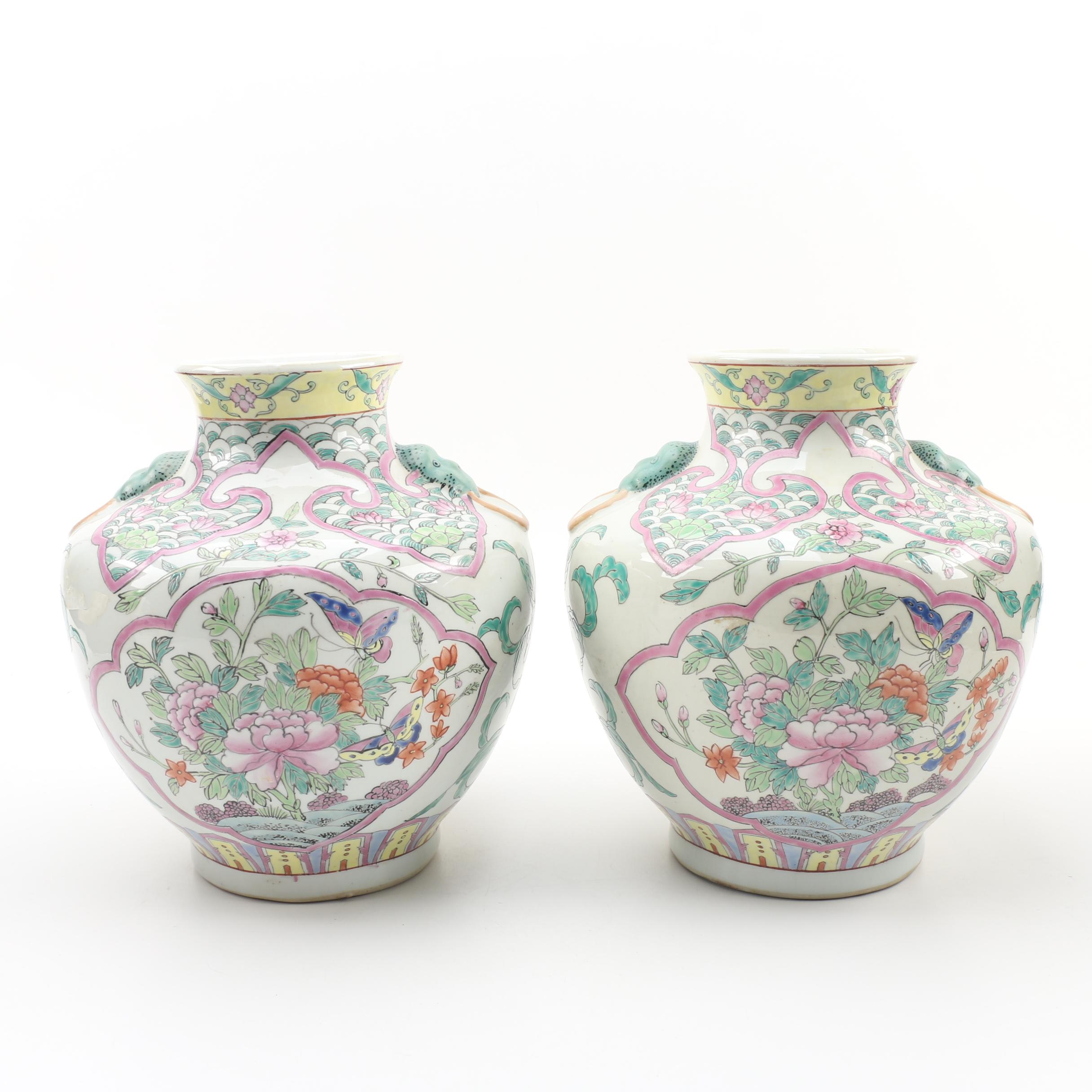 Chinese Ceramic Vases with Peony and Butterfly Motif, Late 20th Century