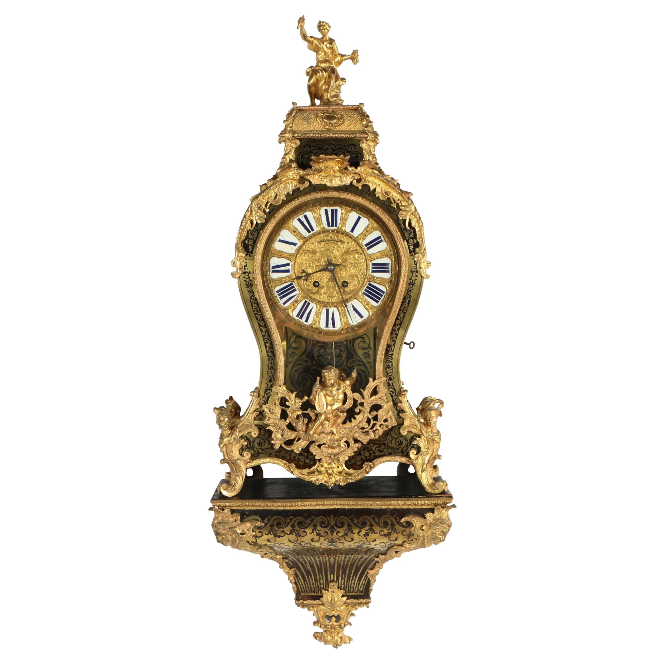 Louis XV Style Gilt Metal, Faux Tortoiseshell, and Brass-Inlaid Bracket Clock