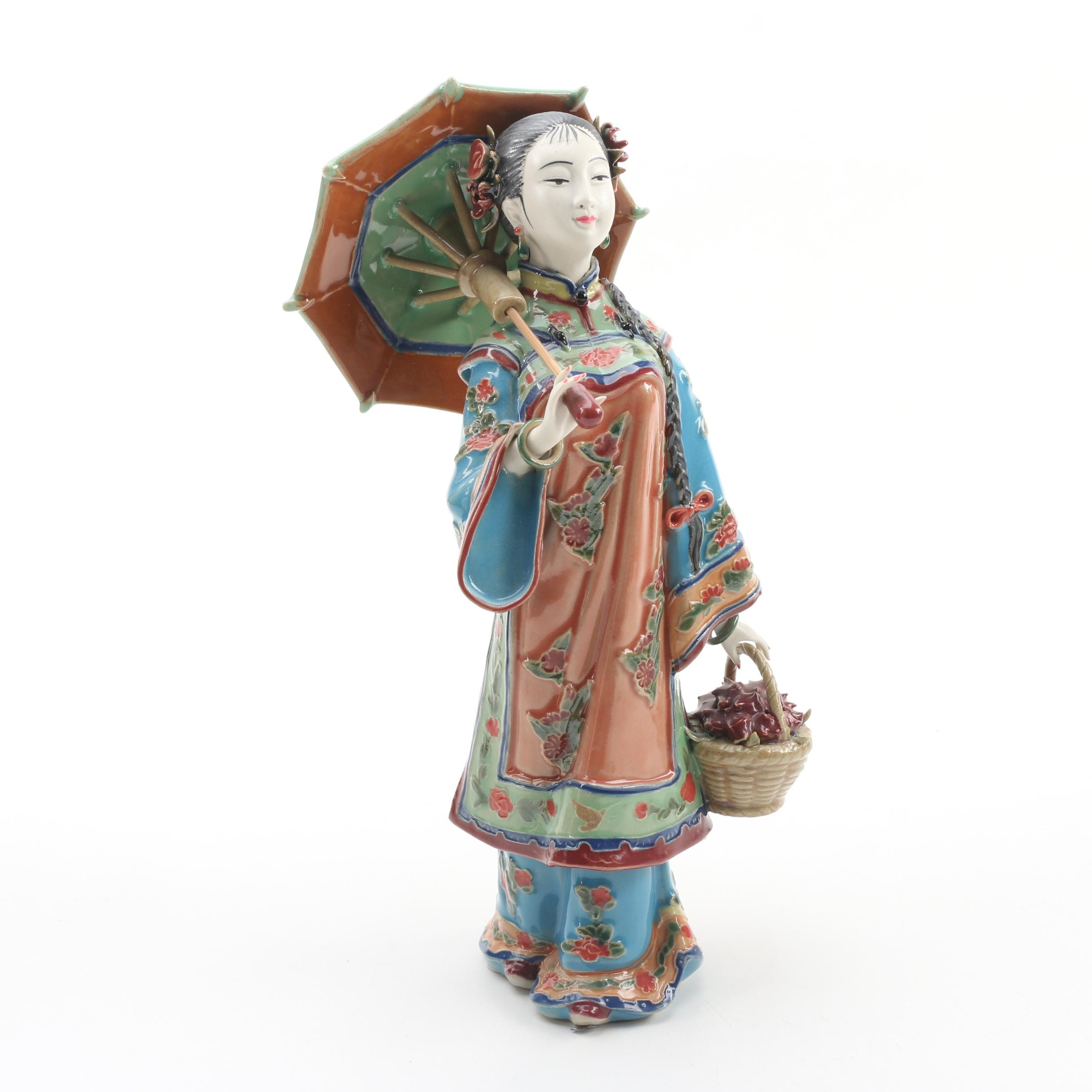 Chinese Shiwan Ware Lady with Parasol Figurine by Lin Wei Dong