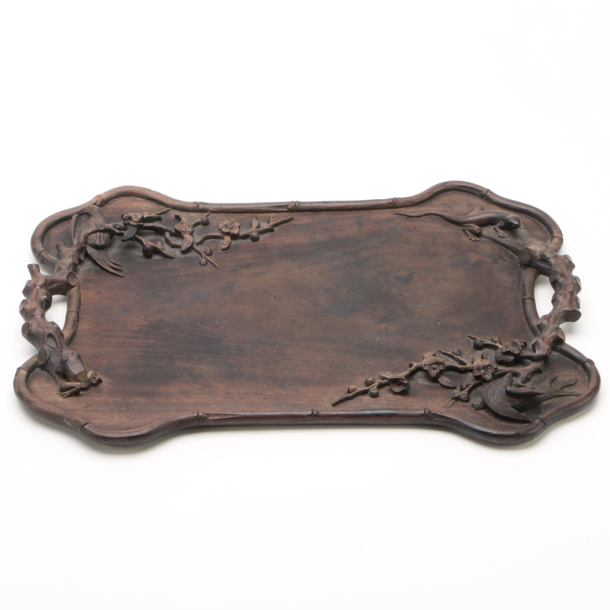 Art Carved Teak Wood Tray with Bird and Frog Motifs, Early 20th Century