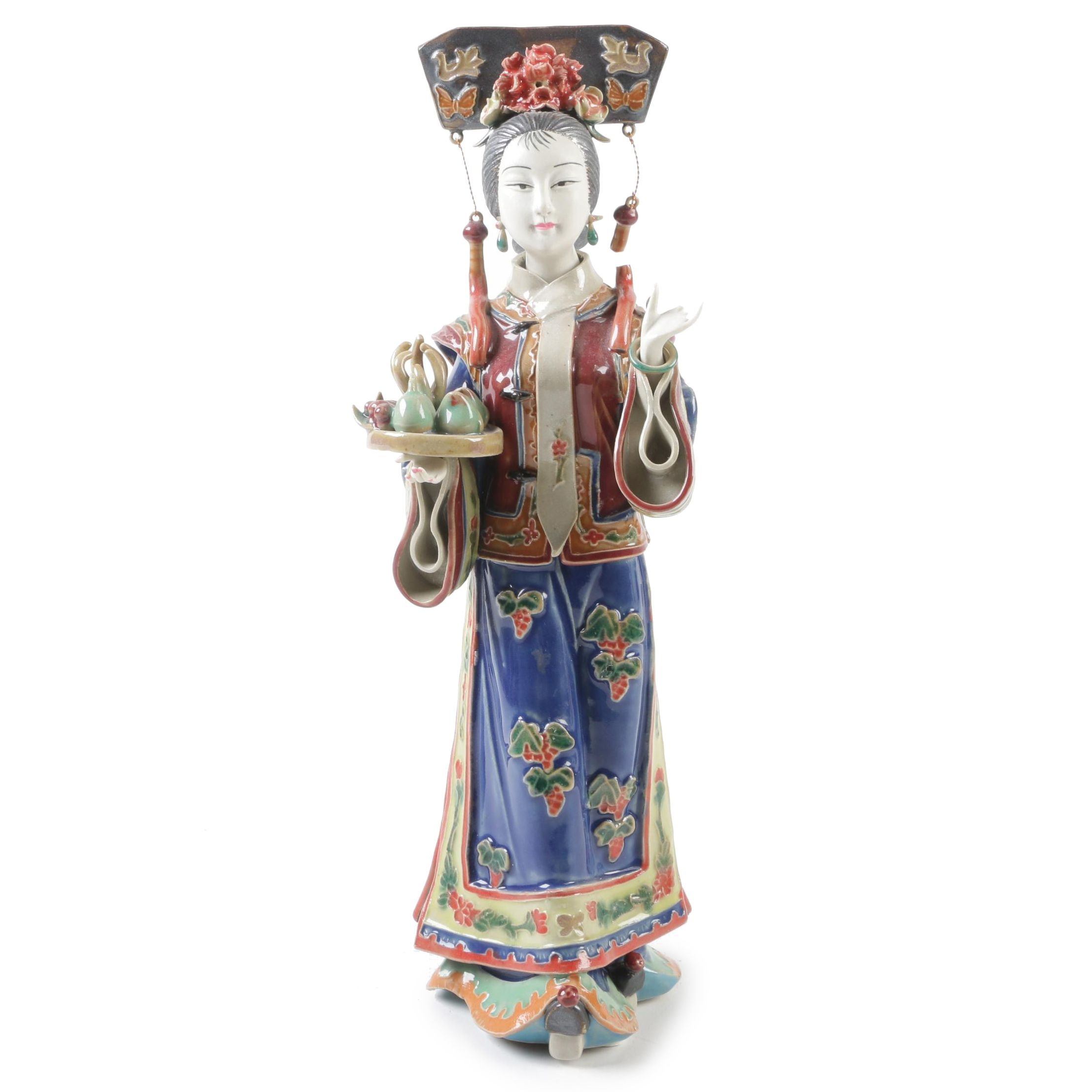 Chinese Shiwan Ware Lady Holding Fruit Tray Figurine by Lin Wei Dong